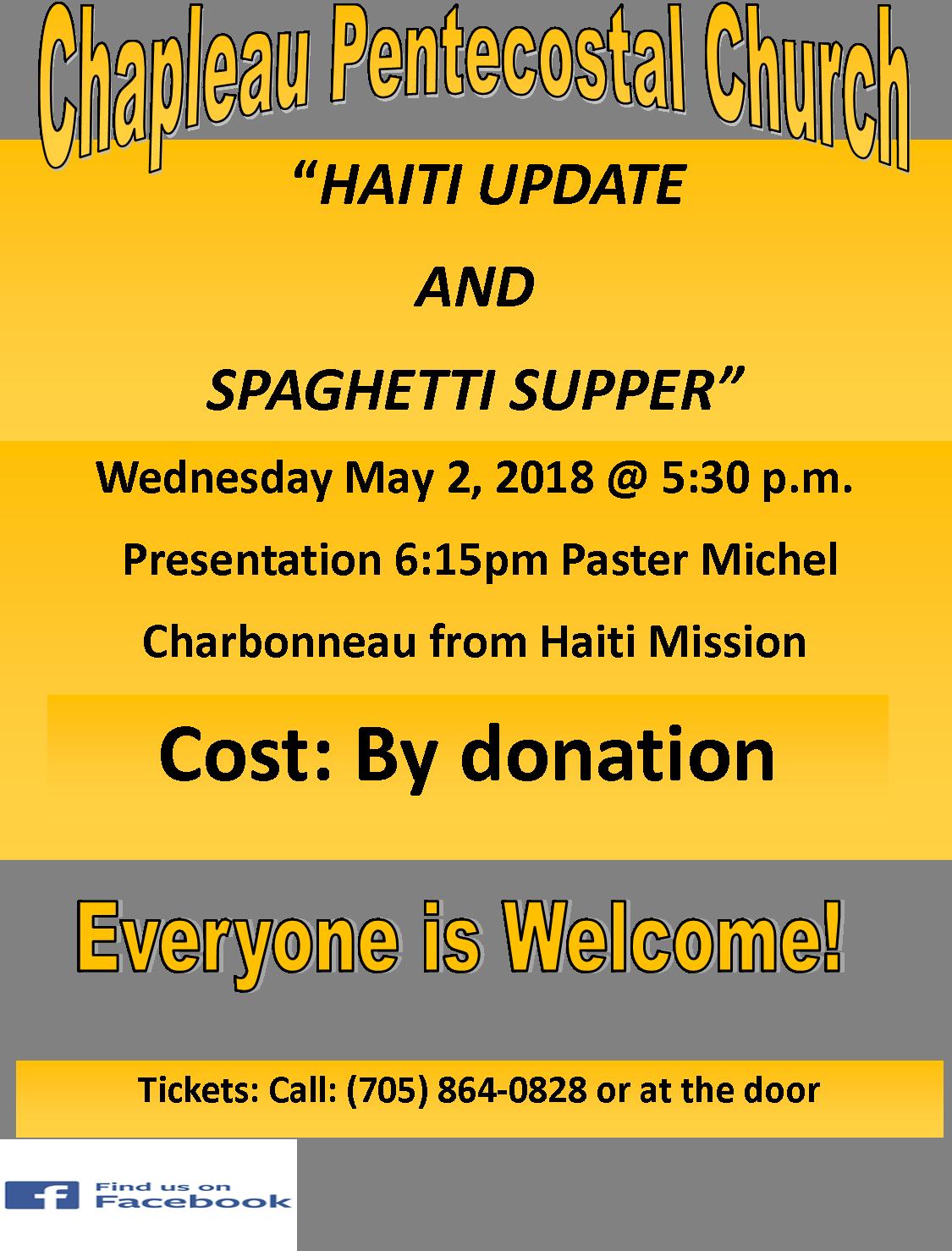 chapleau pentecostl church spaghetti supper may 2 2018.png