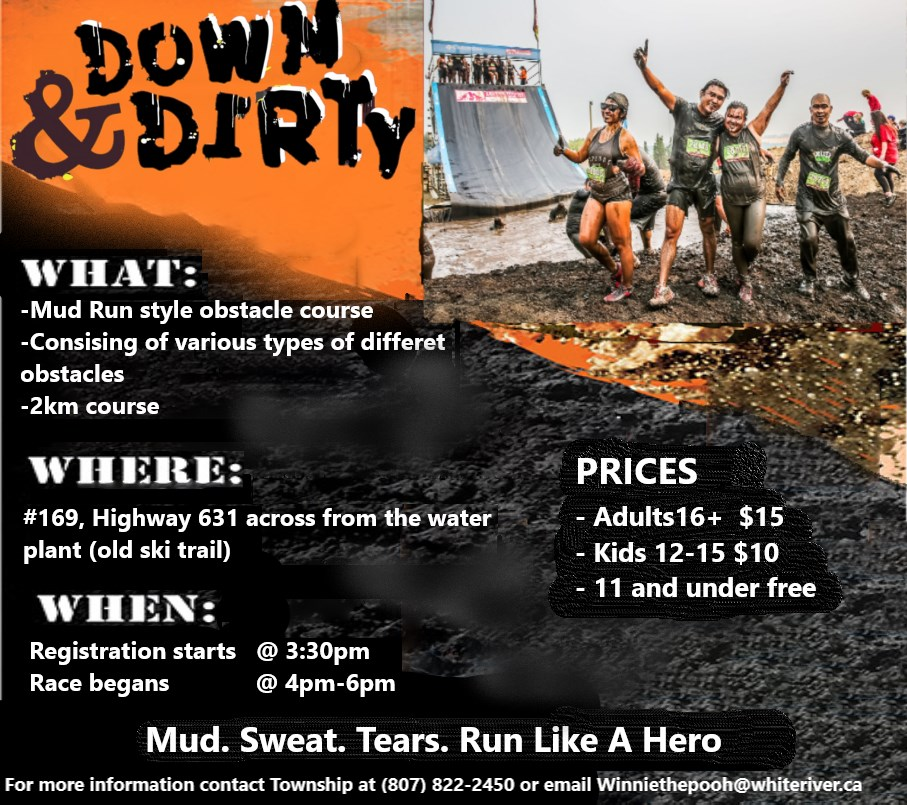 1ST ANNUAL MUD RUN- PART OF THE 31ST ANNUAL WINNIE'S HOMETOWN FESTIVAL AUGUST 16,17 & 18, 2019    On Sunday, August 18th at 3:30pm Winnie's Festival will be hosting the first annual Mud Run. The Mud Run will be located on Highway 631 across from the water plant in the old ski trail. Registration starts at 3:30 pm, race begins at 4pm! This course is kid friendly but children under 16 need to have supervision.