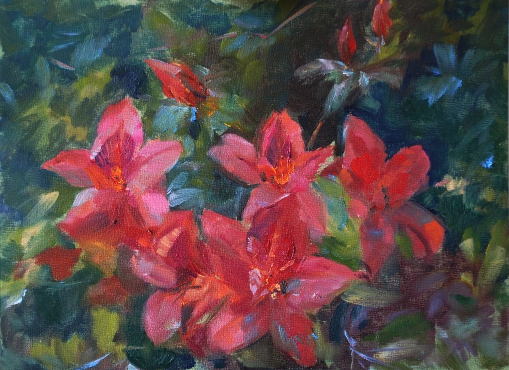 """PICTURED: Roswell artist Ann Bailey's oil painting """"Red Azaleas""""  Bailey will be painting live at the the Azalea Festivals Invitational Art Exhibition Reception at Synovus Bank on April 12th; and the original painting will be auctioned at the reception."""