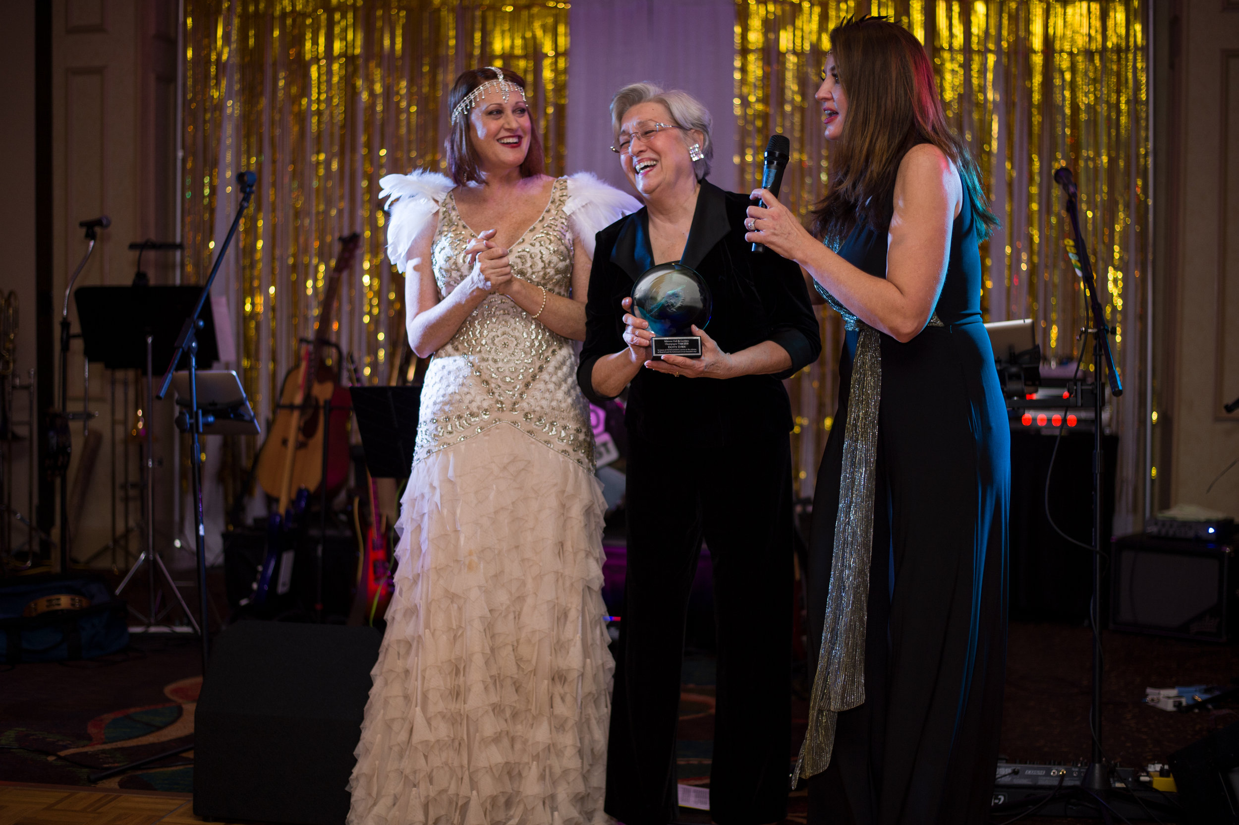 Photo: Dotty is shown here with Michelle Slater and Kelly Callen on Dec. 31, 2018 while receiving an award from the Friends of Mimosa Hall organization at the Great Gatsby Gala.