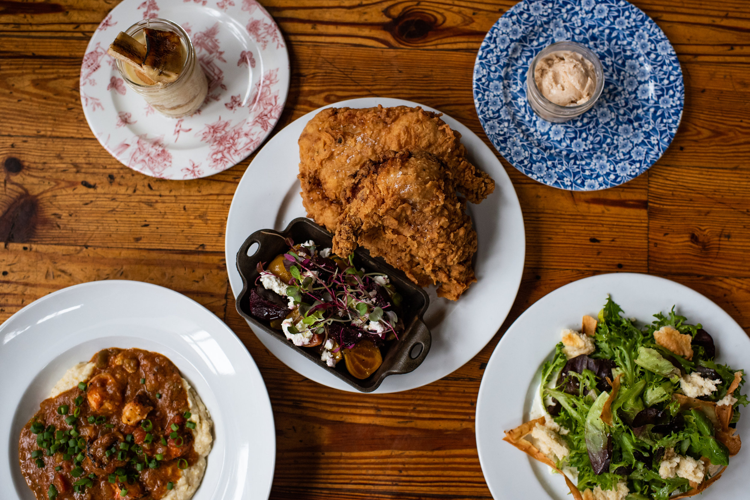 Table & Main's Southern Fried Chicken, Farm Lettuce Salad, Banana Pudding