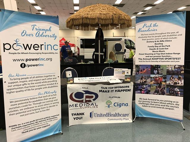 All set up & ready at the Disability Expo in Tyler at Harvey Hall! Come see us & the many more disability resource vendors here!!! #disabilityexpo #powerinc #triumphoveradversity #pushyourself #livelovelife