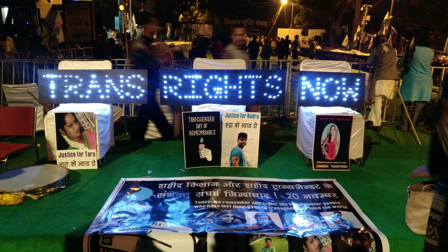 Lighting the Way to Trans Liberation   An image from one of our light signs campaigns for the 2017 Trans day of remembrance in New Delhi.