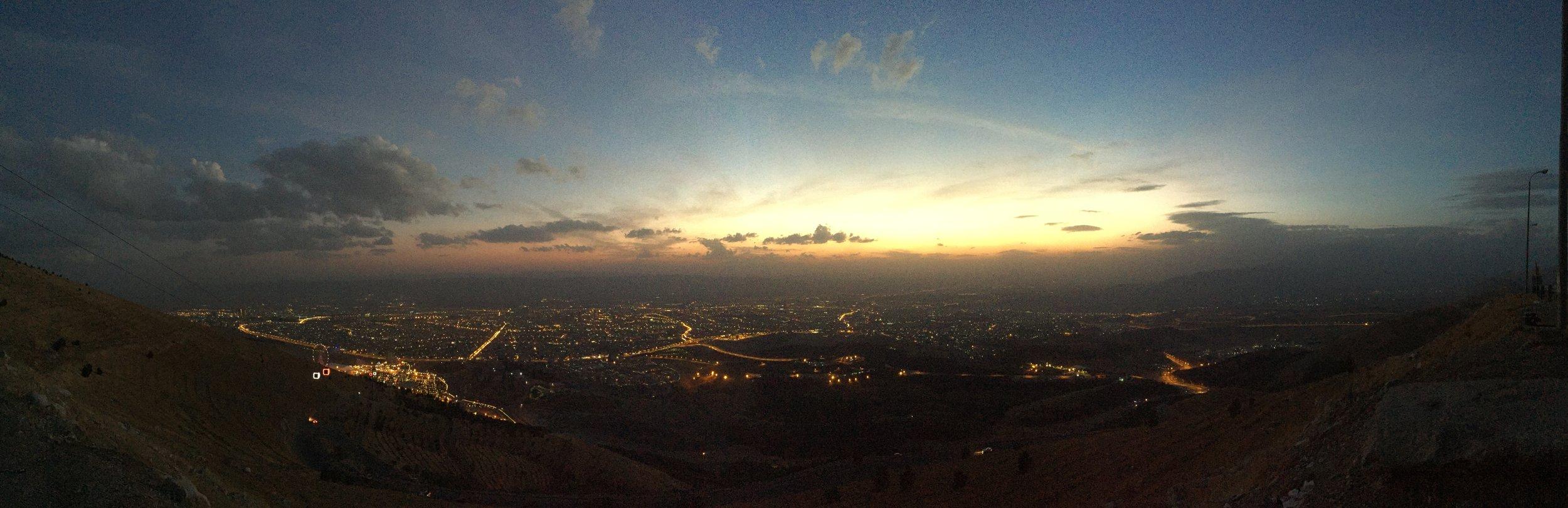 Sunset over Slemani, Iraqi Kurdistan.