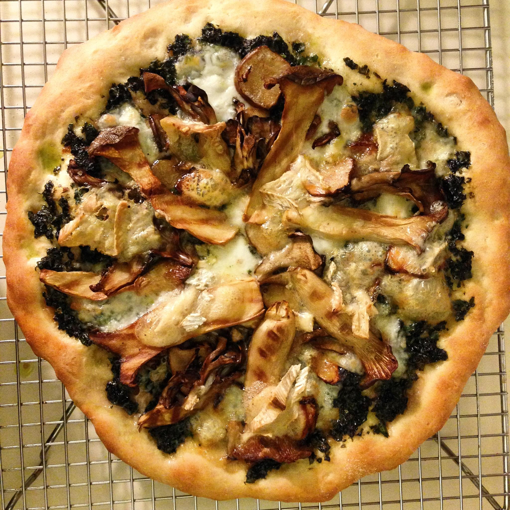 king trumpet, broccoli pesto, and truffle brie pizza