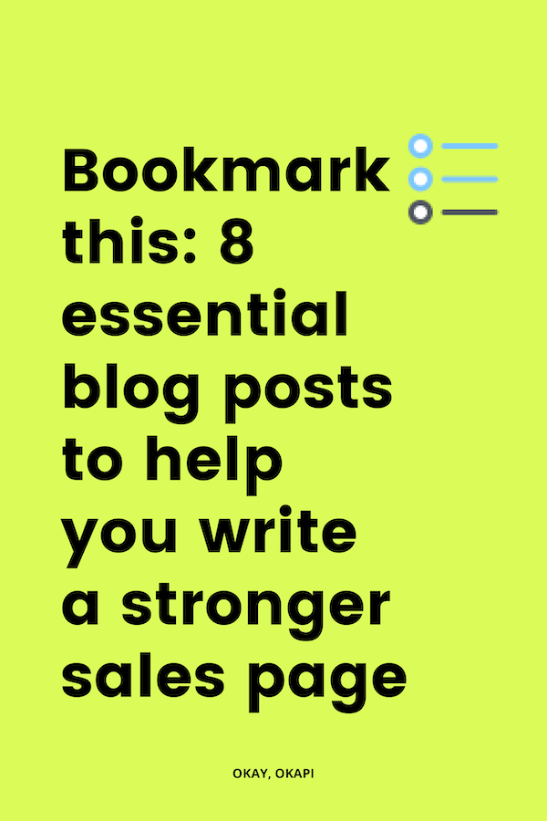 Sales page. Arguably one of the hardest things you'll ever write (aside from a dissertation or your about page…). But it doesn't have to be that way! Bookmark this collection of blog posts with one goal: helping you write a stronger sales page.