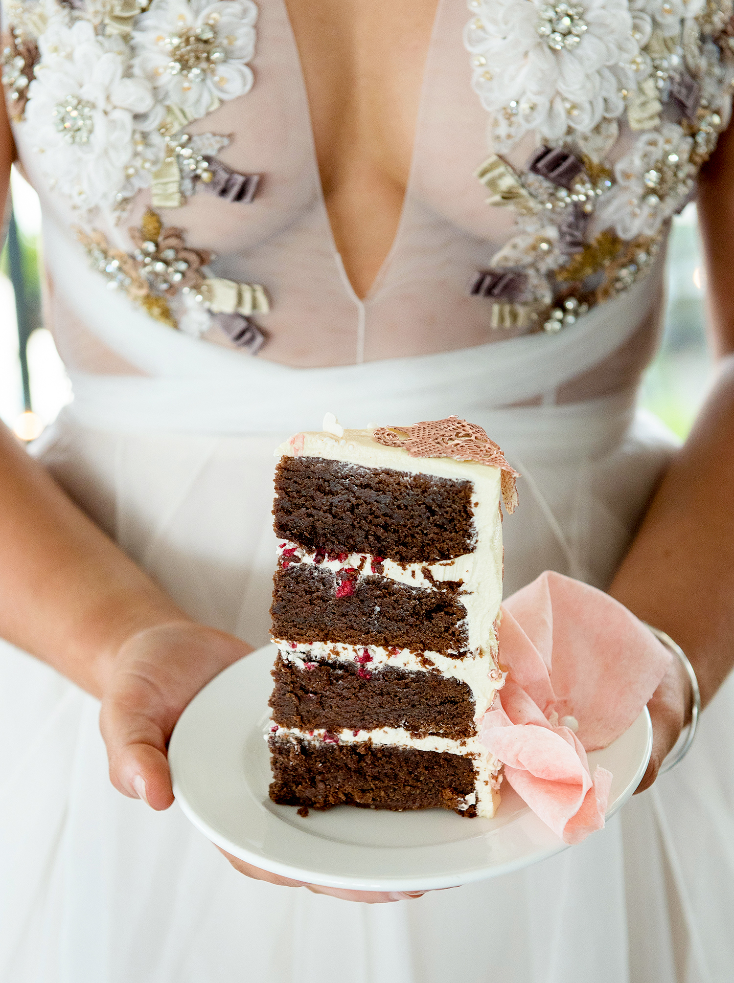 Venue: South Bank Beergarden Stylist/Coordinator: Blushing Events Photographer: Nicole Barralet Photography @nicolebarraletphoto Models: Taytum & Kirra Green Cake: Confetti Cake Co. Gowns: White By Gossip Gowns