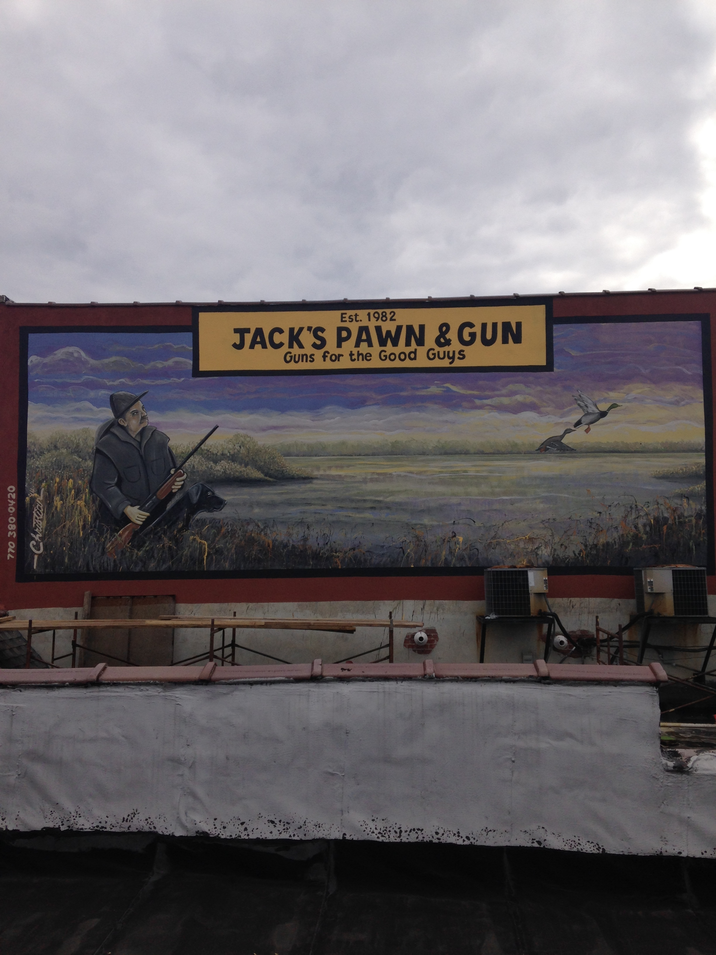 This is our second mural/sign for Jack's Pawn in the city of Dalton, Ga. It's a 16'x36' mural on the second floor of his building. It was painted in the winter of 2014.