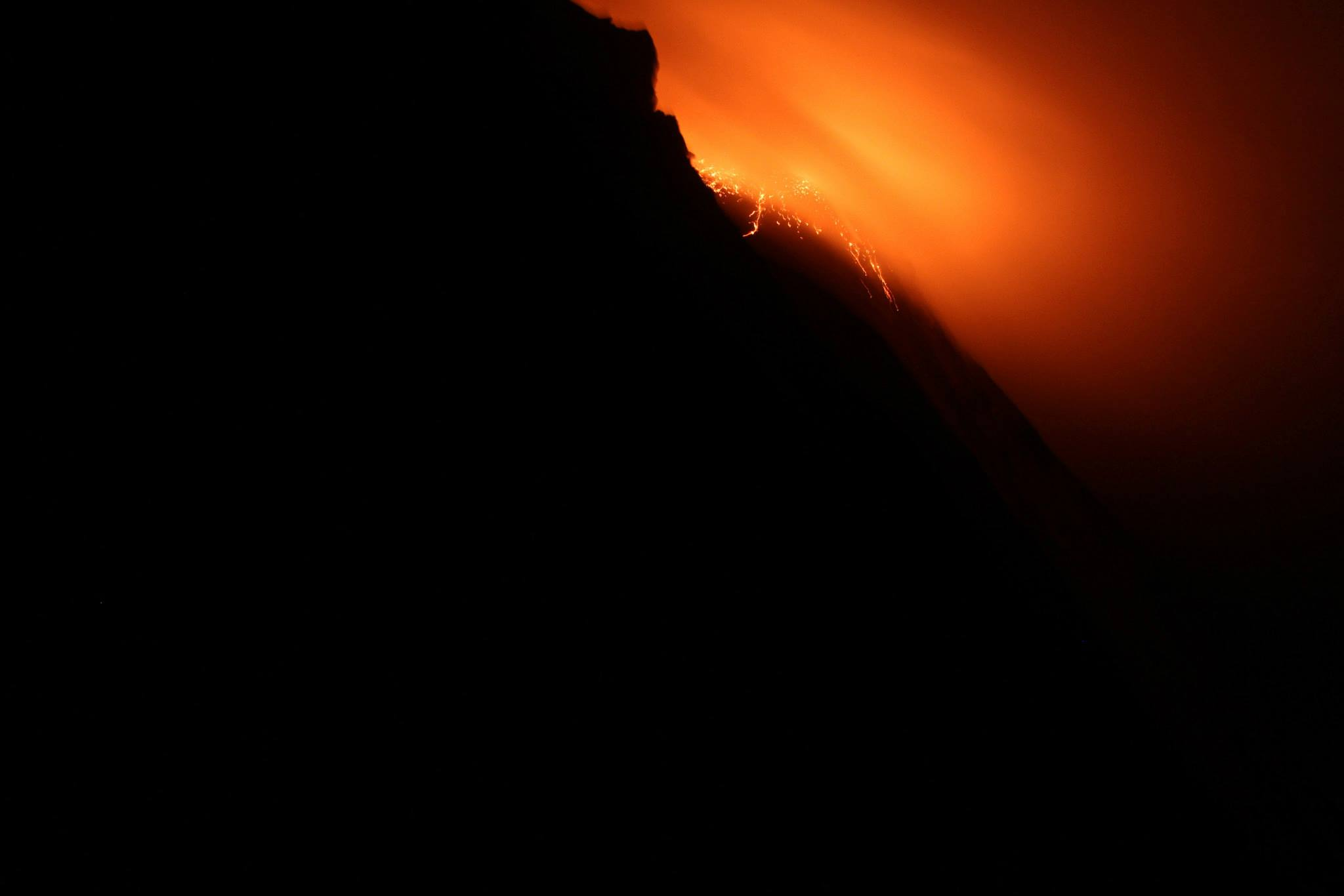 This is what it looks like when you are running away from an erupting volcano in the dark and your headlamp dies.