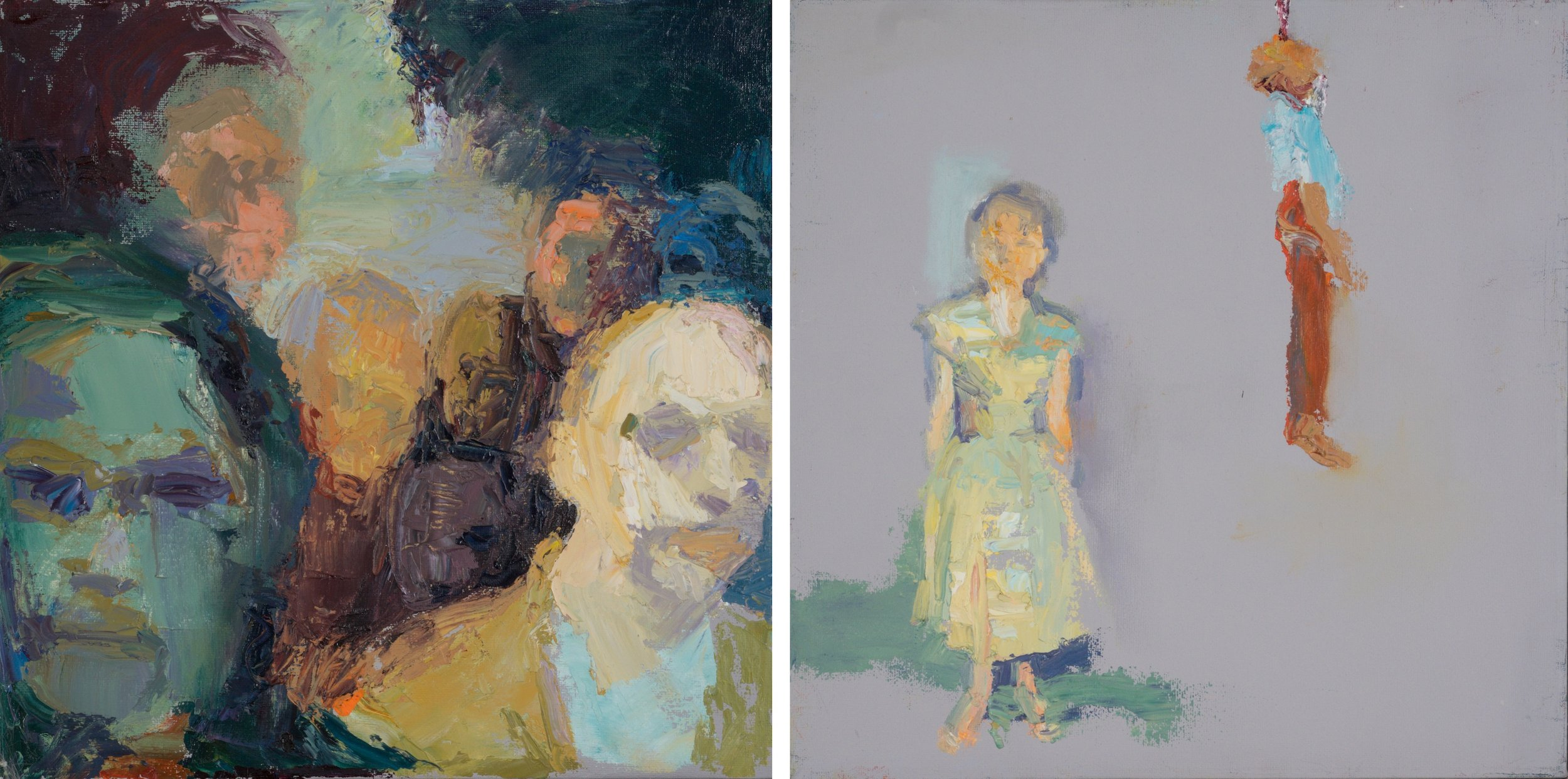 """I have seen the red rose burning    (oil on two canvases)   12""""x25"""""""