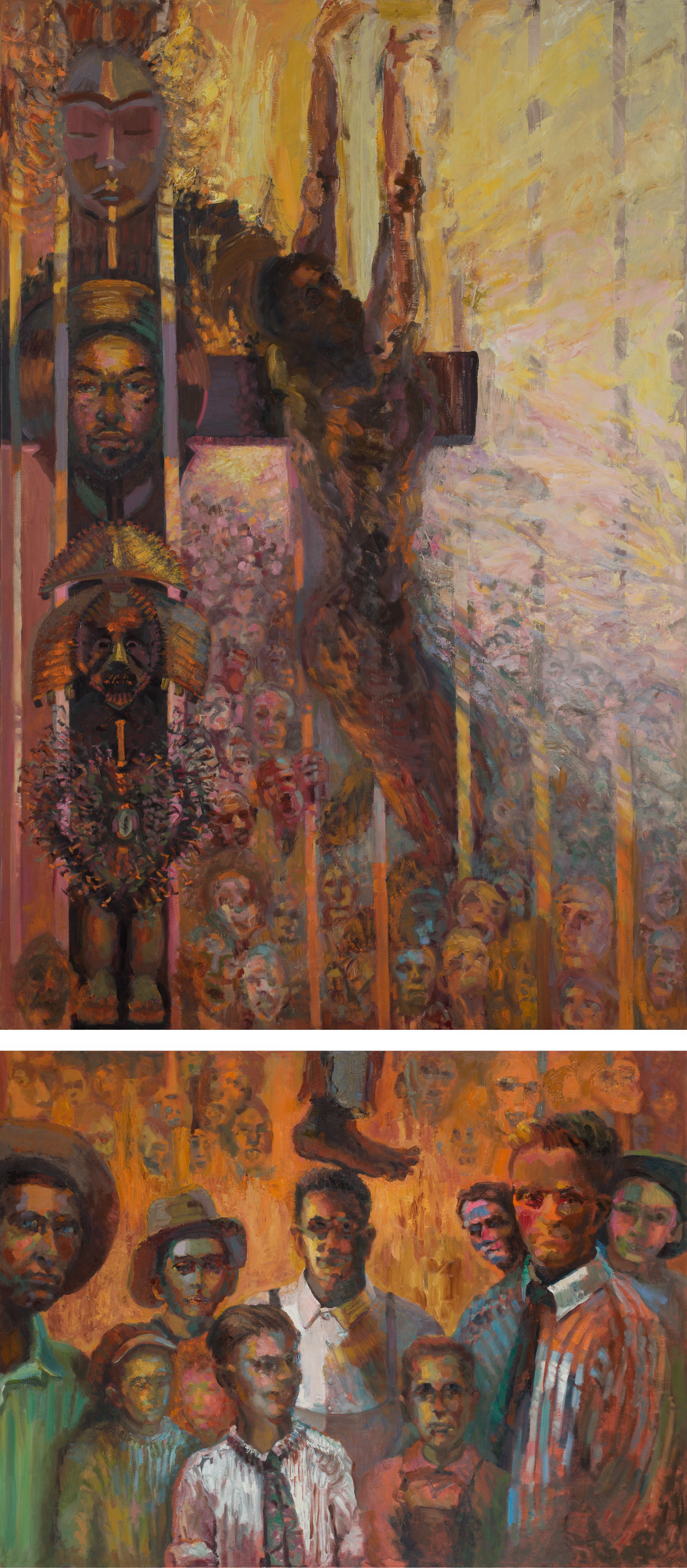 "we were never children like your children    (oil on two canvases)   48""x112"""