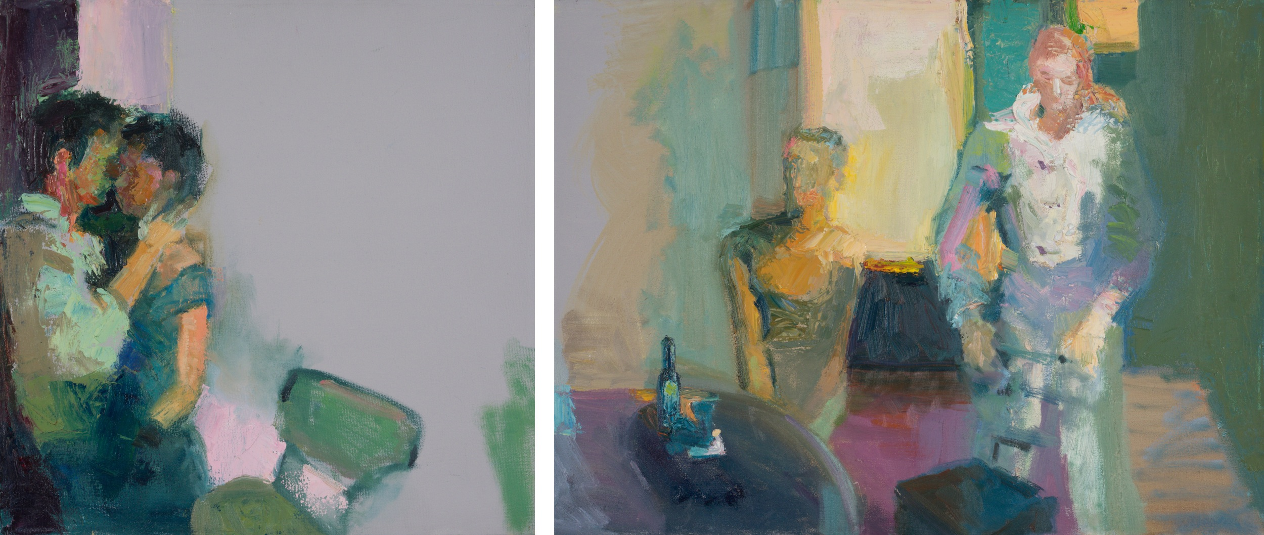 """the horses were more real than my father more real than god    (oil on two canvases)   12""""x29"""""""