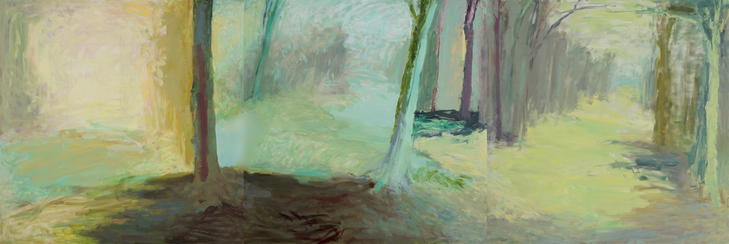 """sing sing through the darkened dream    (oil on three canvases)   48""""x144"""""""