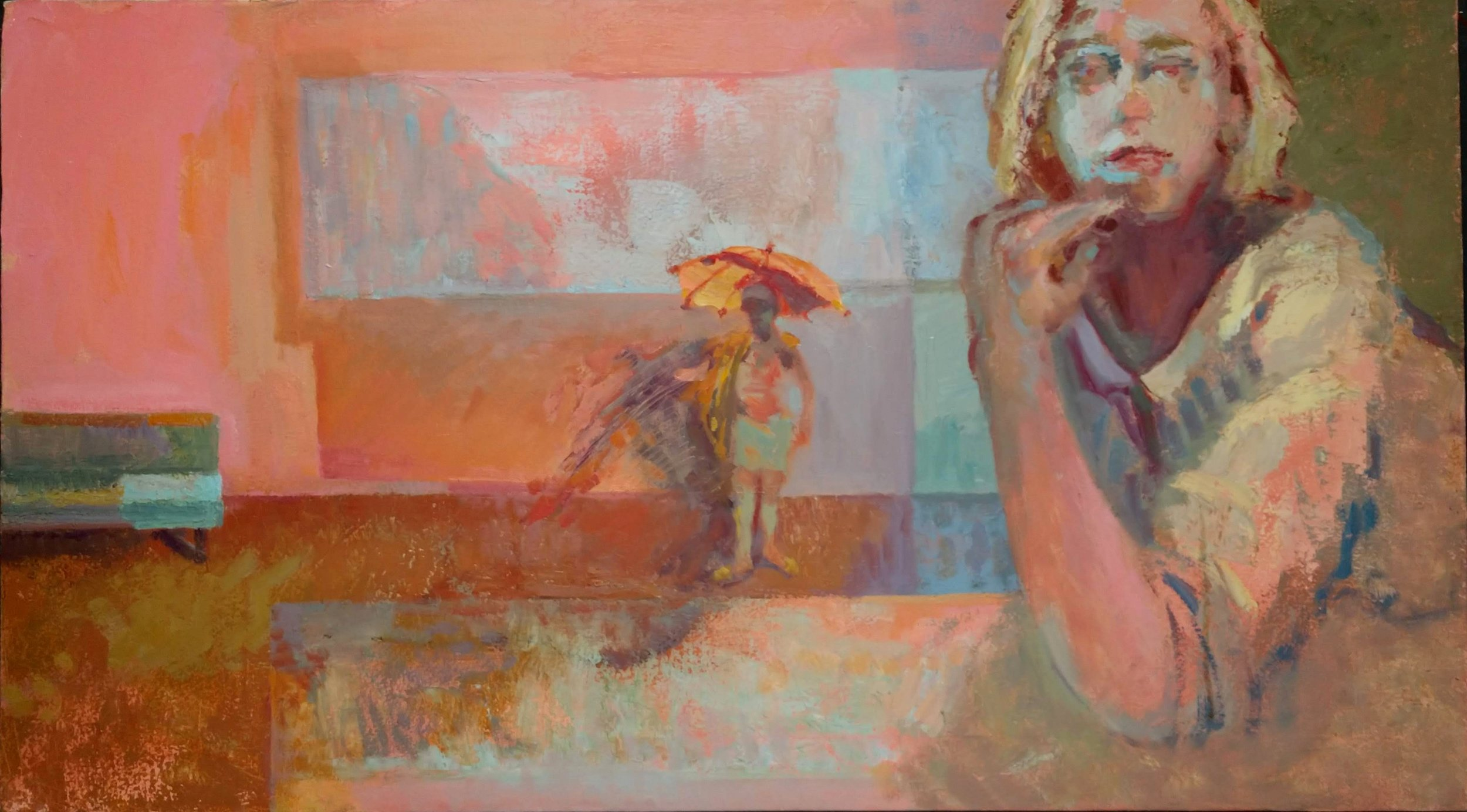 """I am temporarily delighted  (oil on canvas)  18"""" x 32"""""""