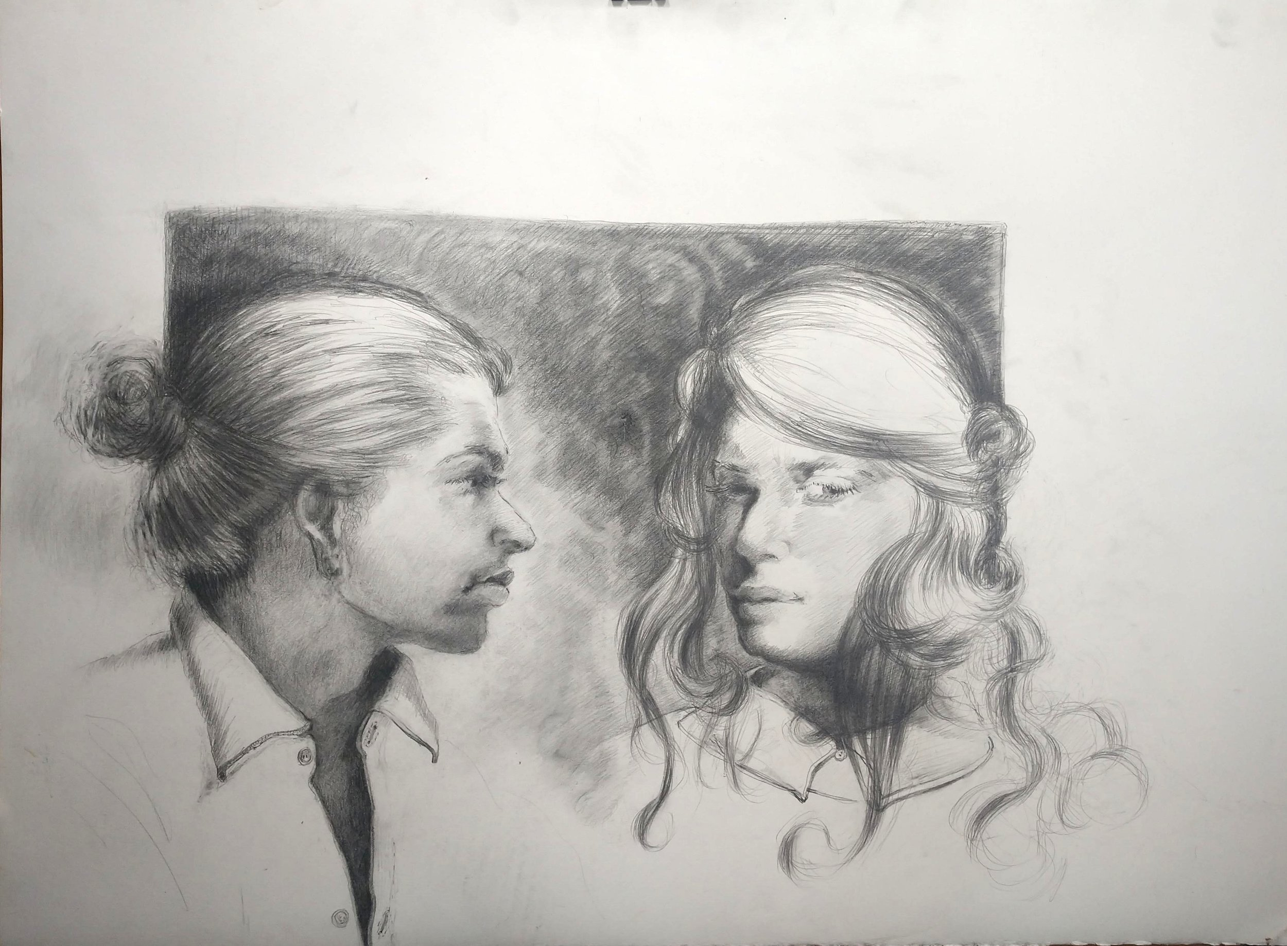 """study for """"closer""""   (graphite on paper)  22"""" x 30"""""""