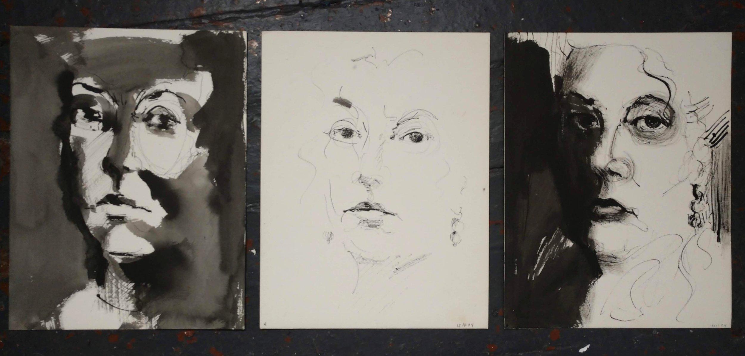 "Self-Portraits (ink on paper)  8.5"" x 11"""