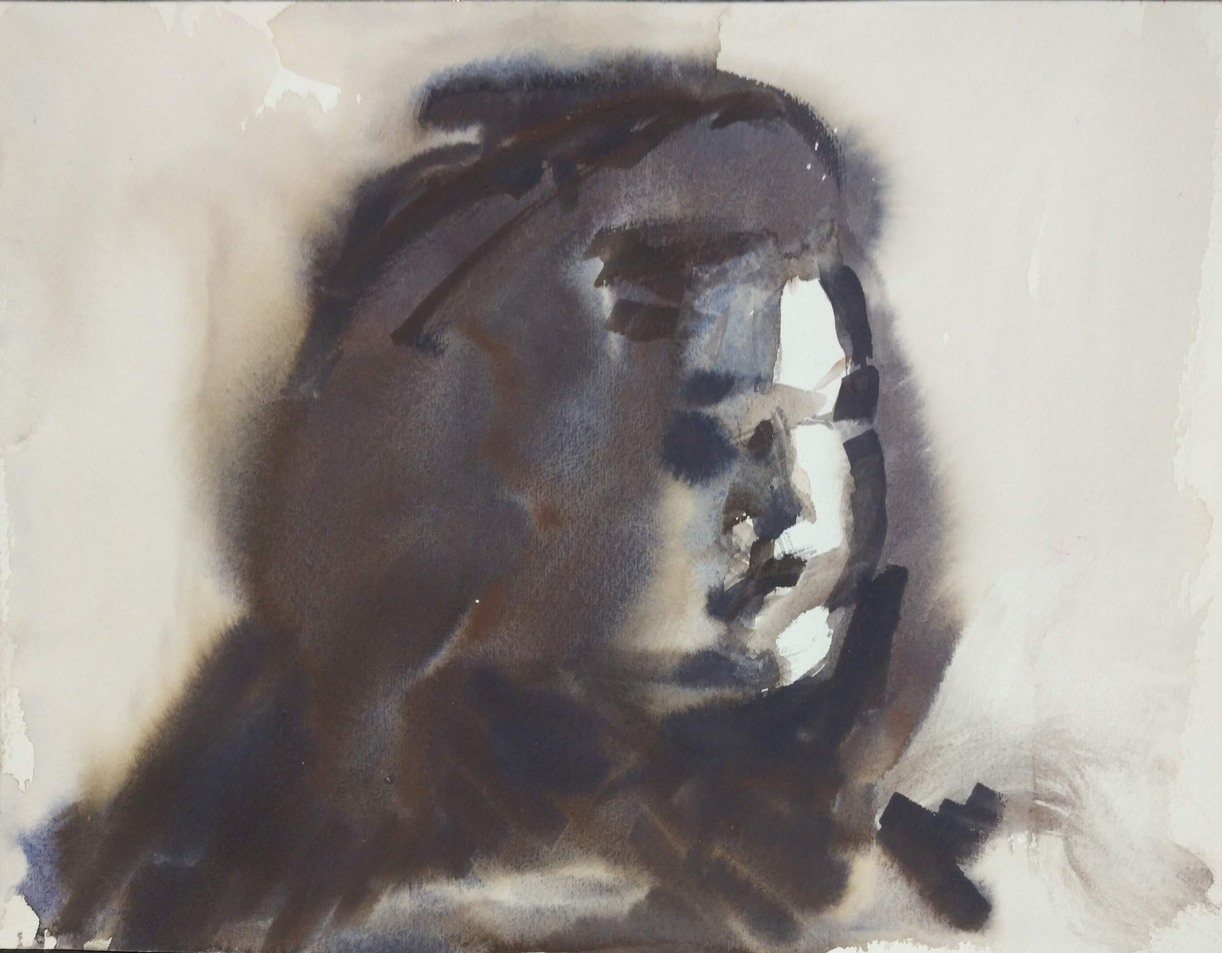 "Self-Portrait  (watercolor)  8.5"" x 11"""