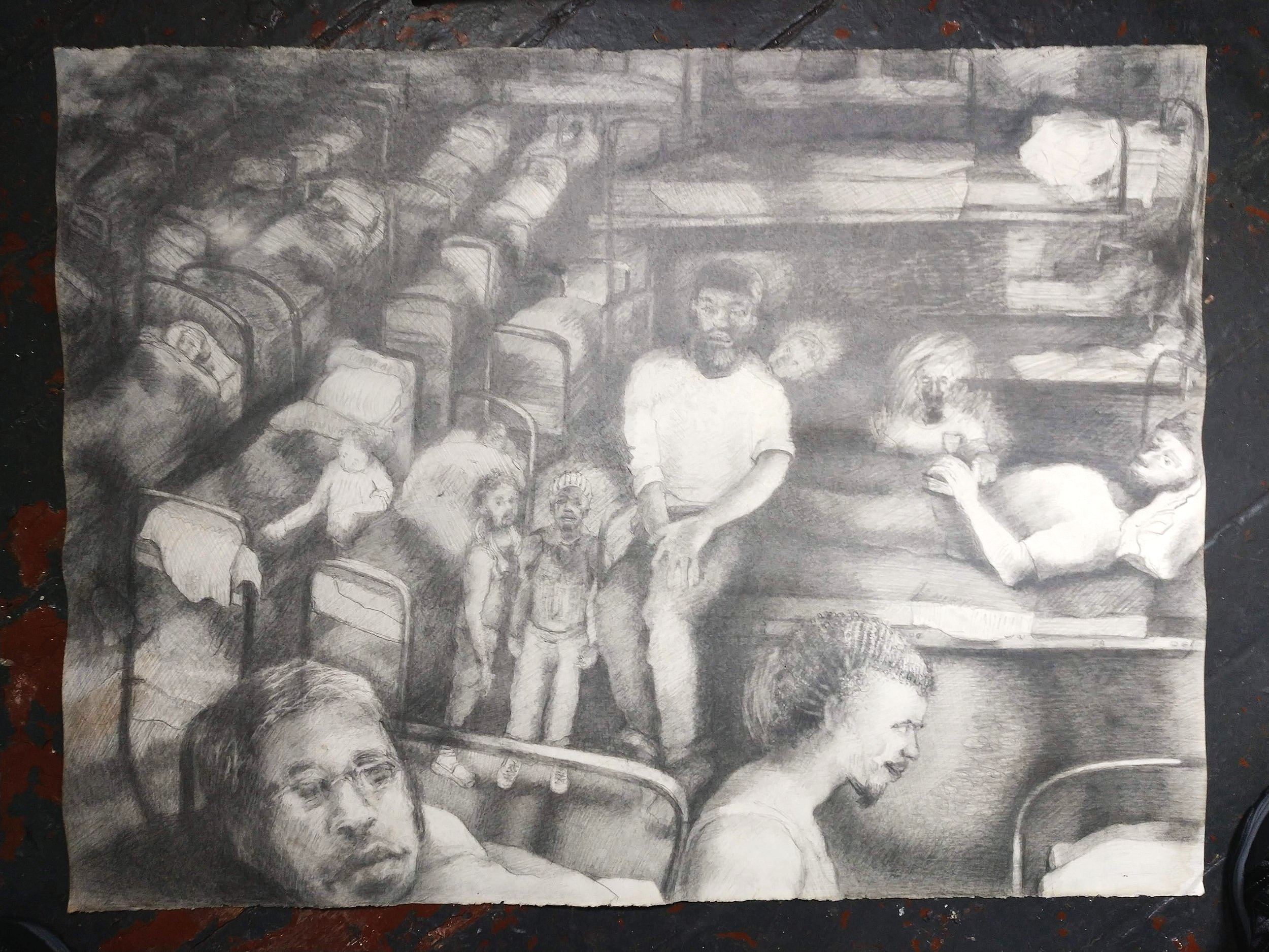 """Study for: to keep calmness and deadness separate  (graphite)   22"""" x 30"""""""