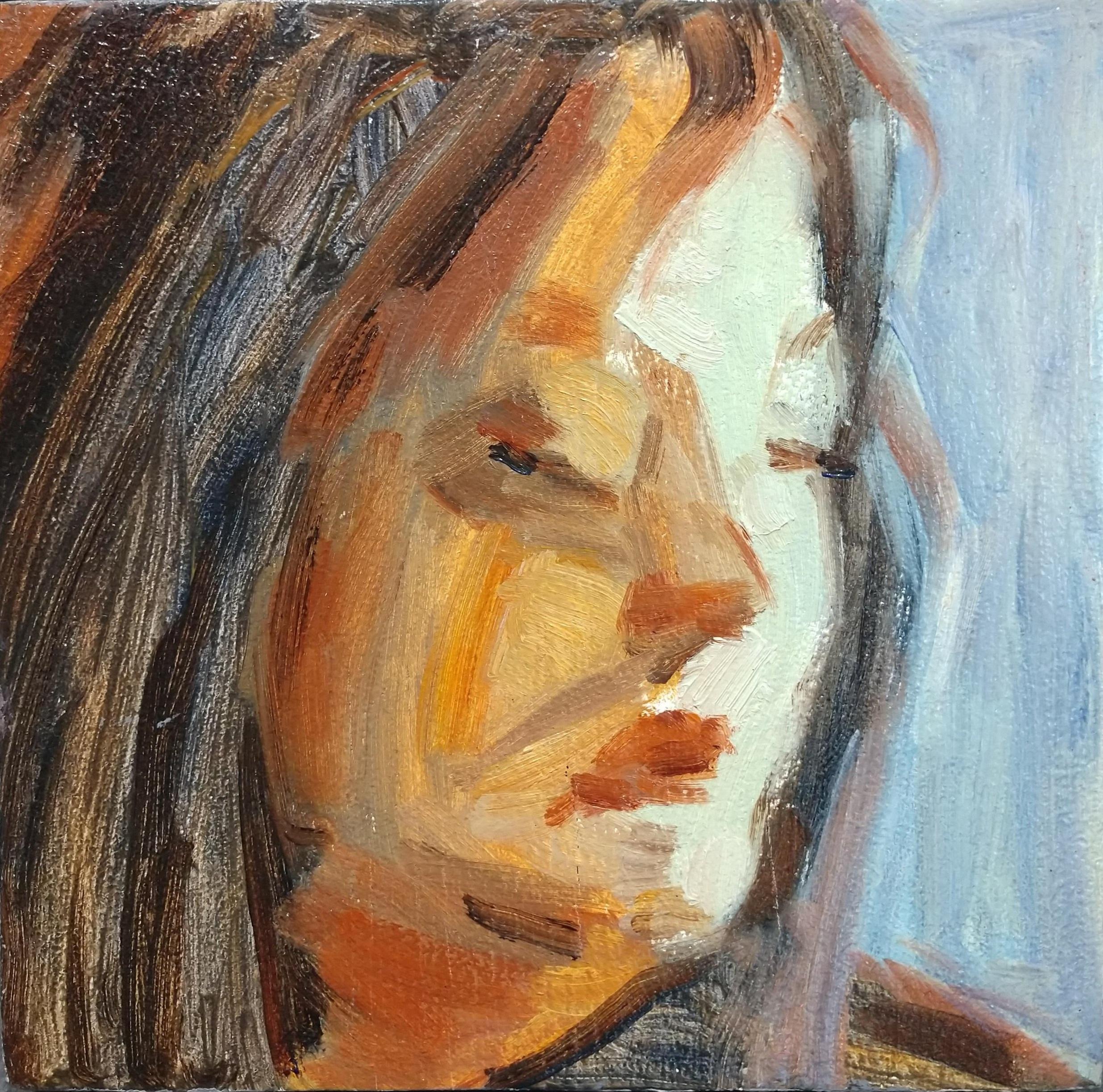"""Self-Portrait  (oil on wood panel)   7"""" x 7"""""""
