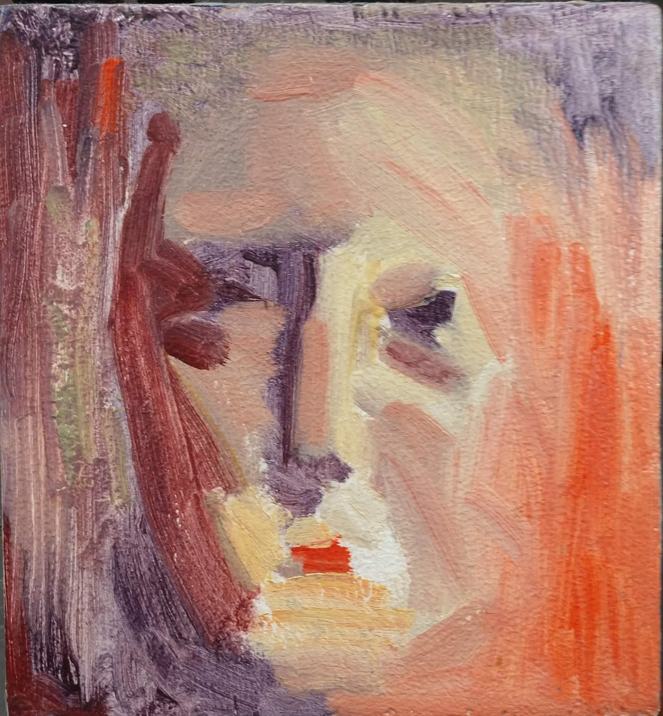 "Self-portrait  (oil on wood)  6 3/8"" x 7"""