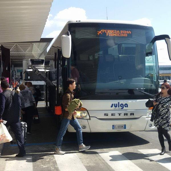 The Sulga Bus Line between Rome and Peugia offers convenient, inexpensive service to and from Fiumicino.