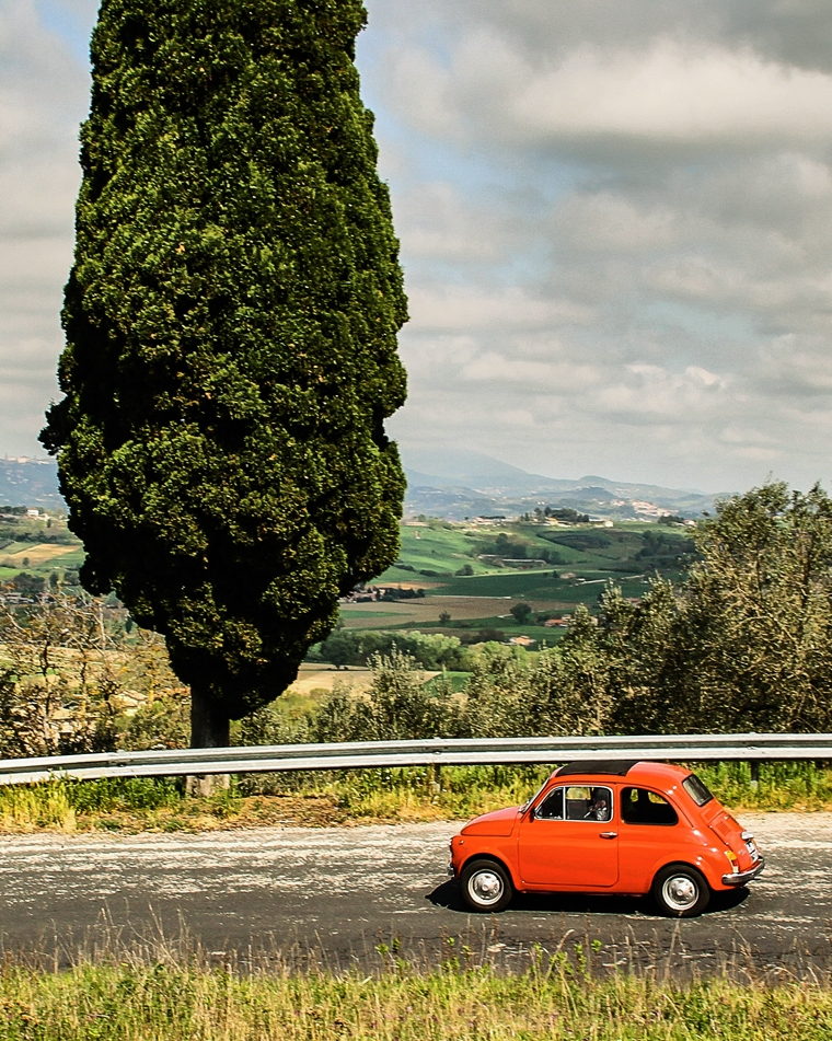 While it doesn't have to be a Fiat 500, hiring a car is almost certainly the most convenient way for you to come and go.