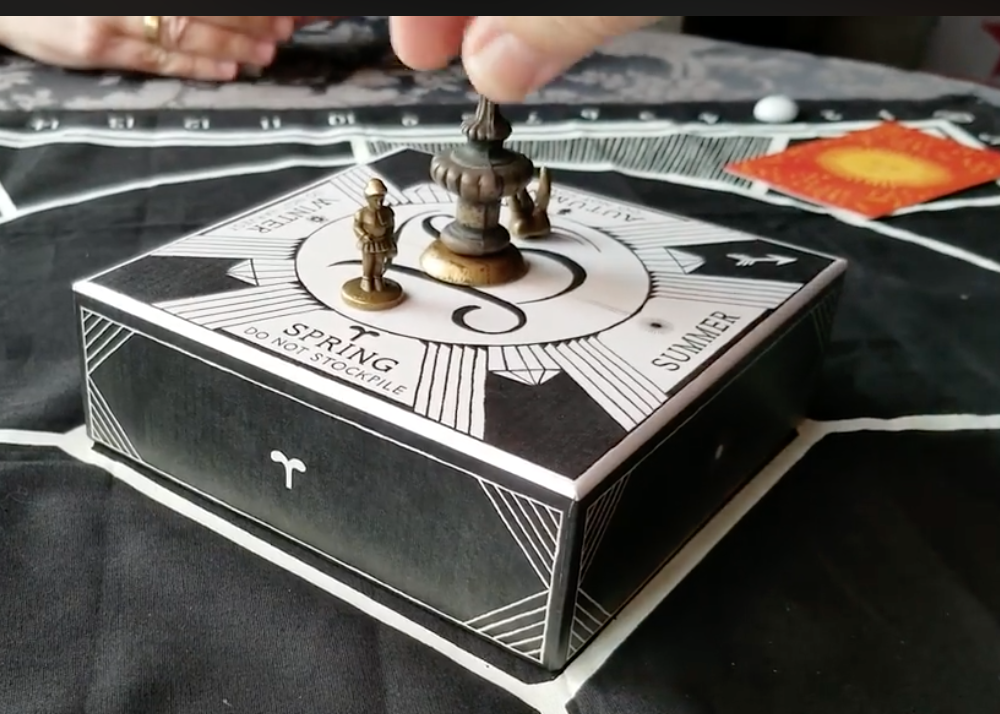 Illimat Players Facebook group member Troy Geddies created a custom finial to turn the Illimat box.