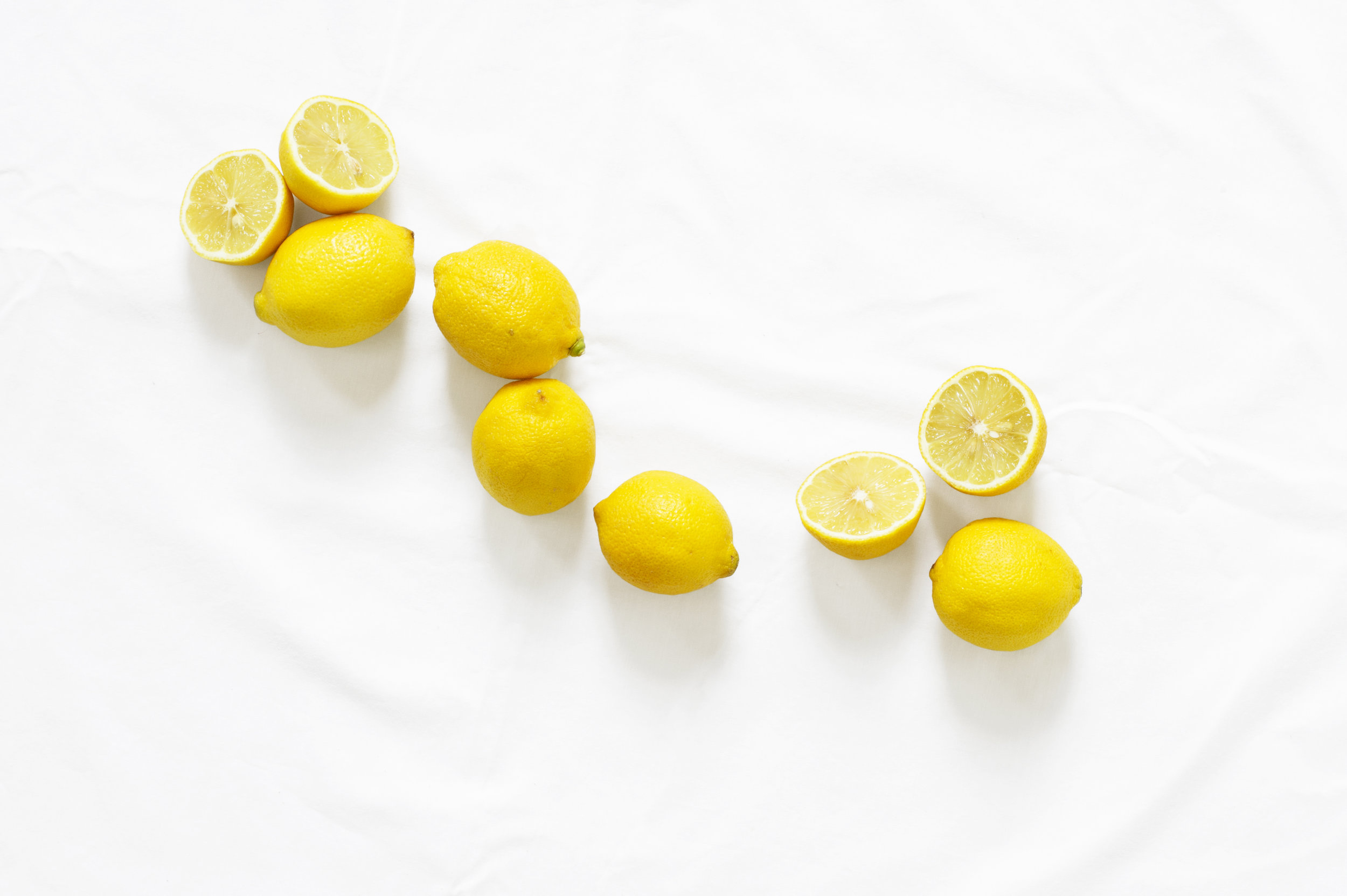 Lemons on white background.
