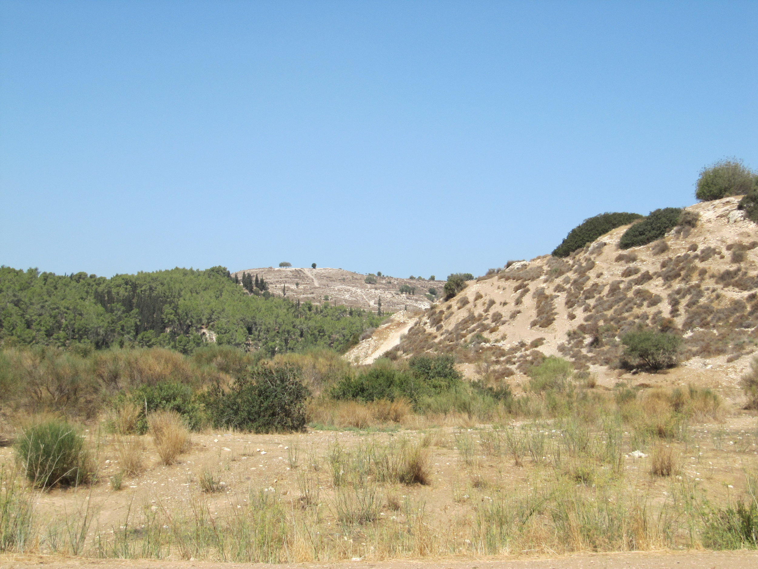 The ancient mound of Azekah - Where the Philistines were camped.