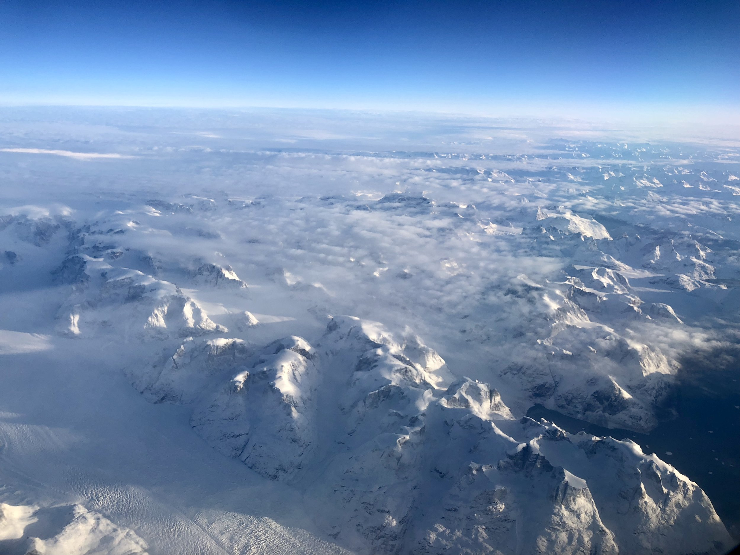 Flying over Greenland into Iceland