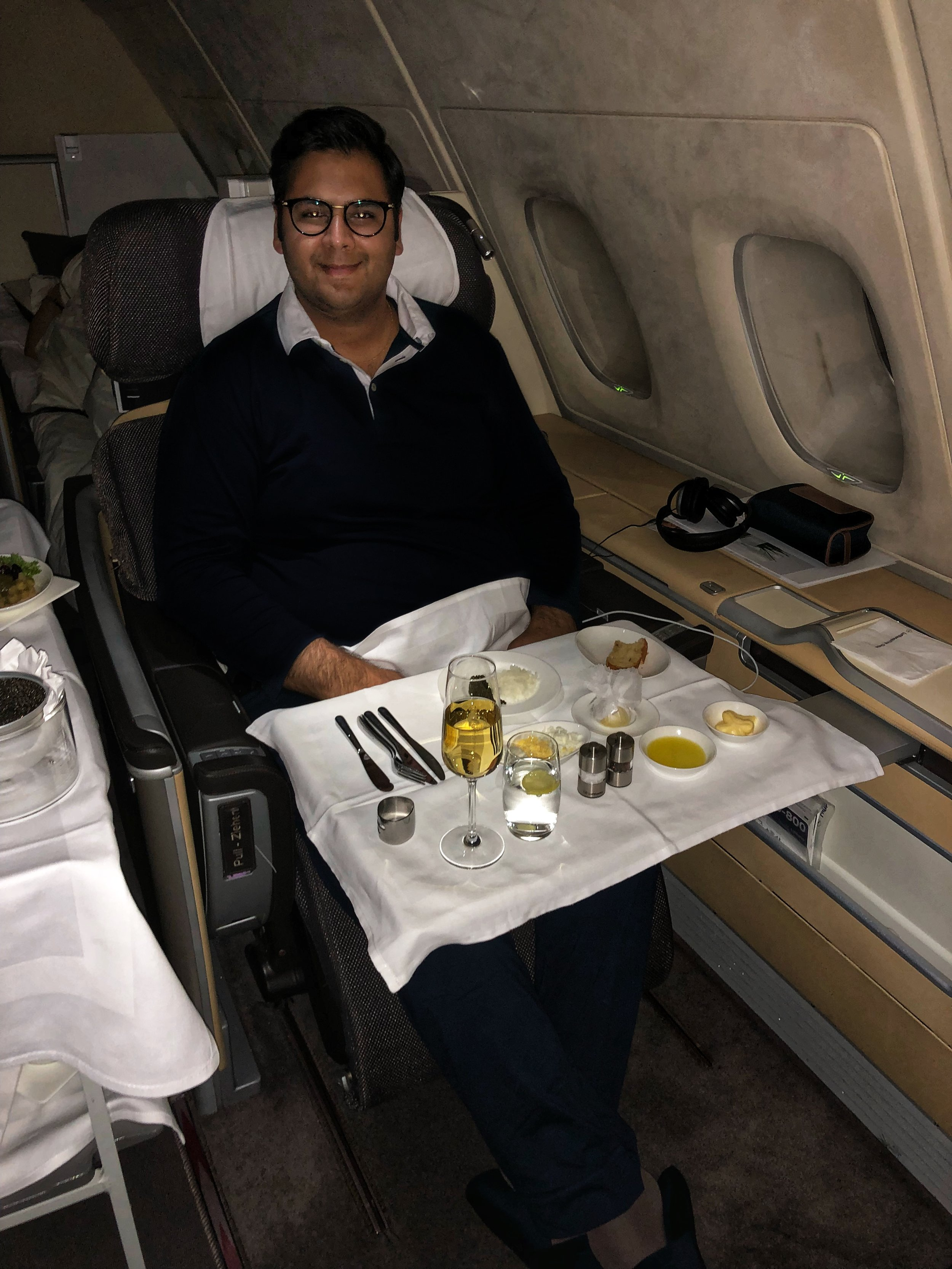 Lufthansa First Class Caviar Service at 35,000 ft