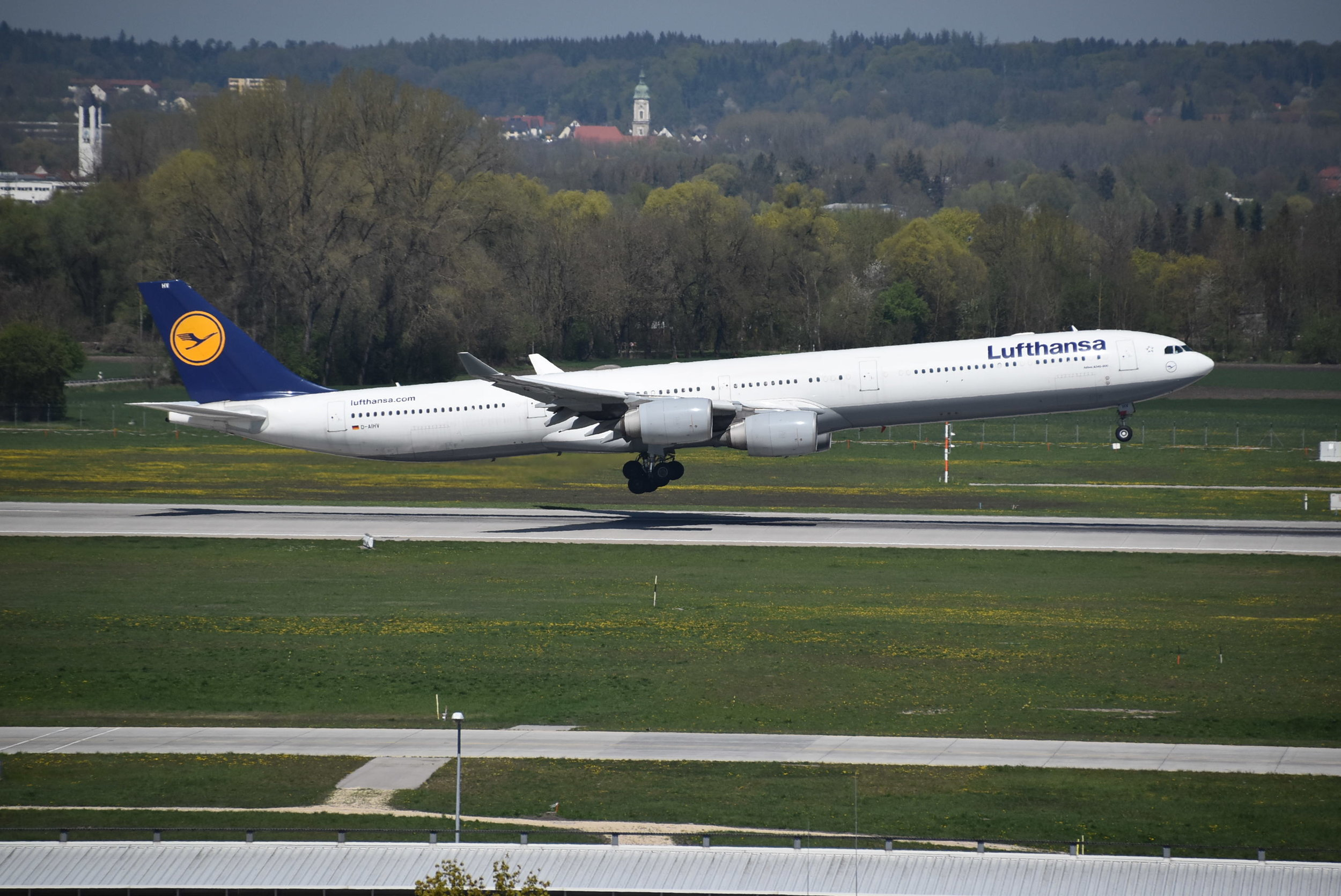 Lufthansa Airbus A340-600 Reg: D-AIHV - Arriving on Runway 08L at Munich International Airport