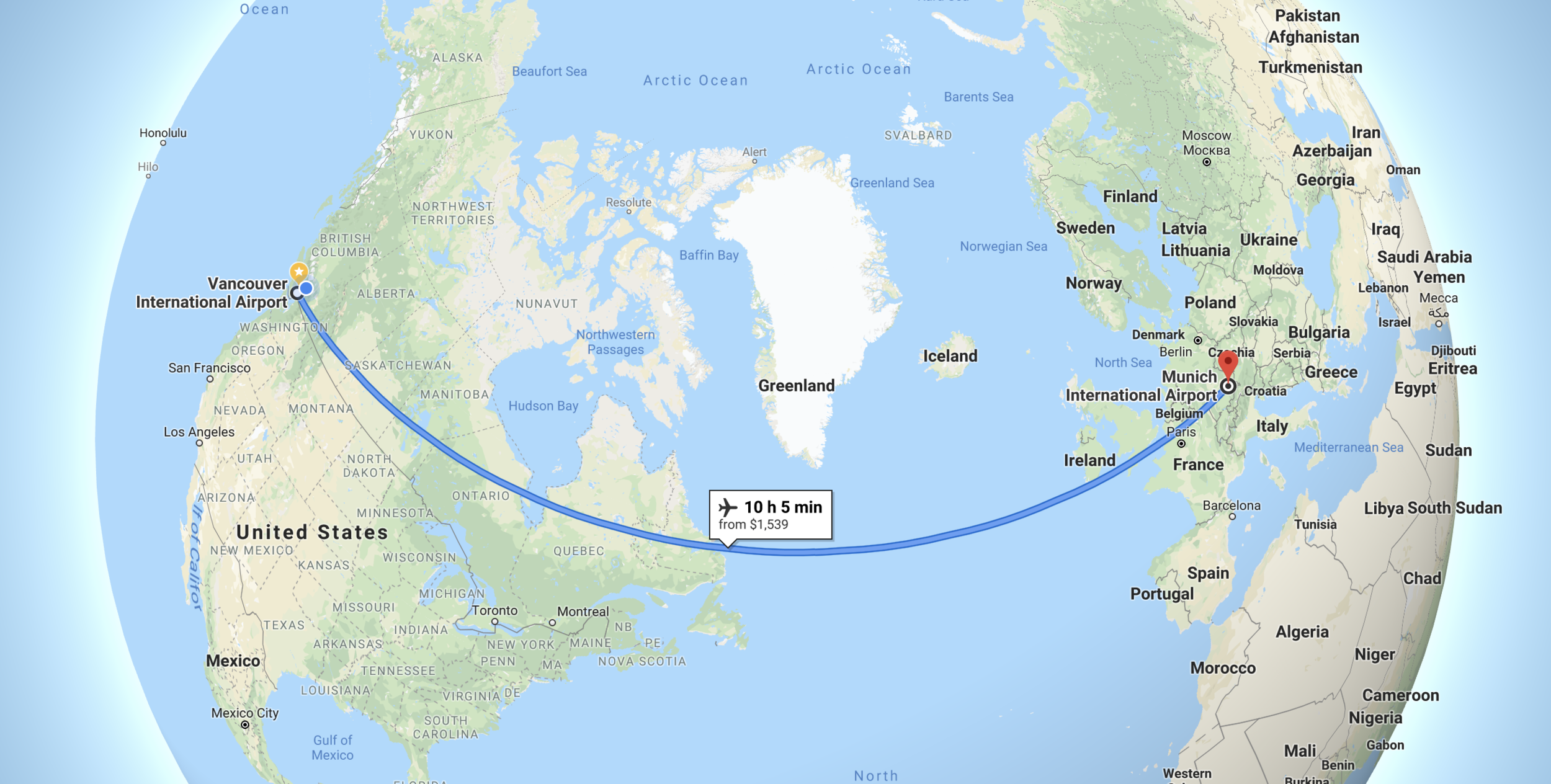 Vancouver to Munich