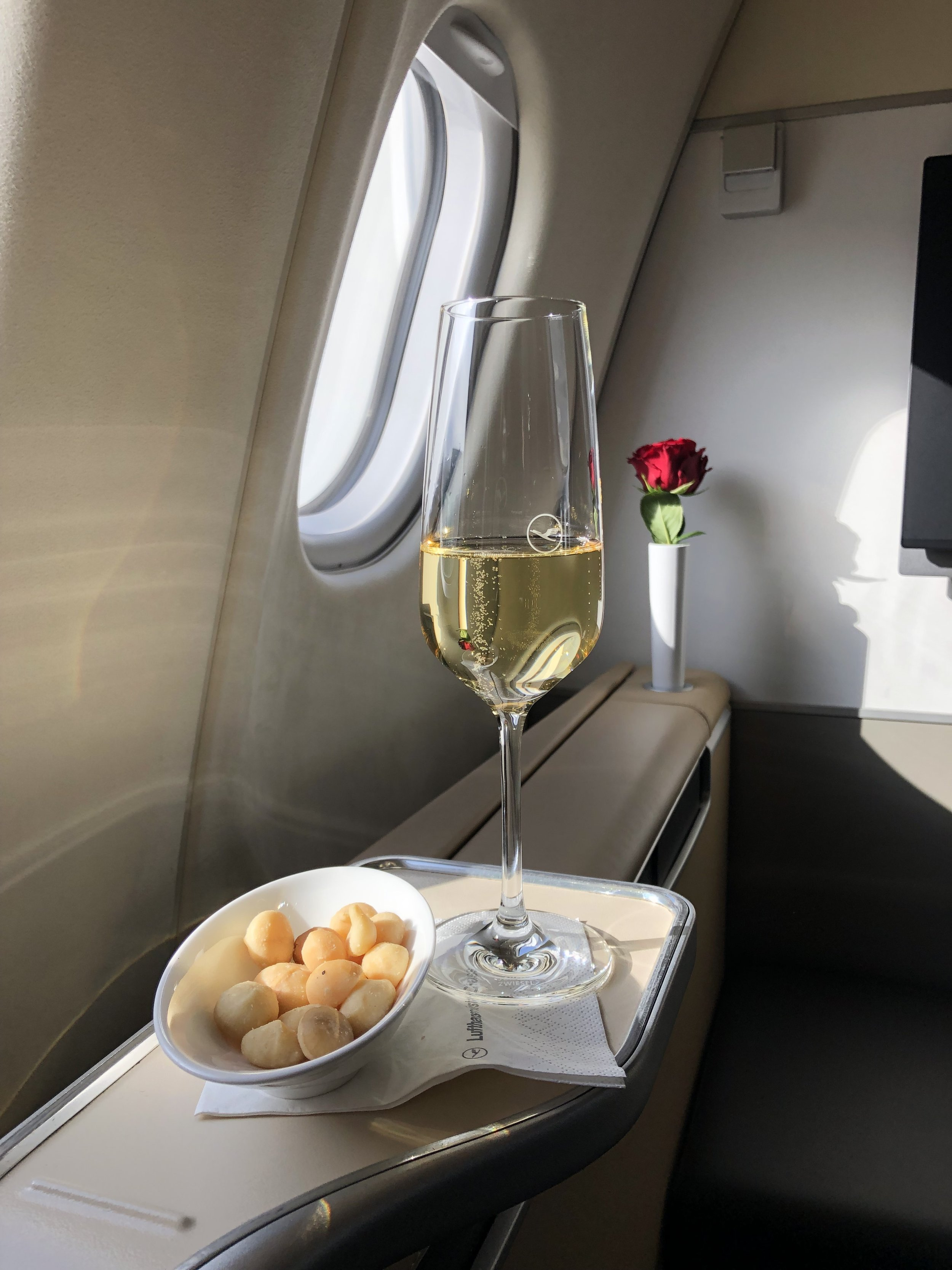 Pre-Departure Champagne and Macadamia Nuts