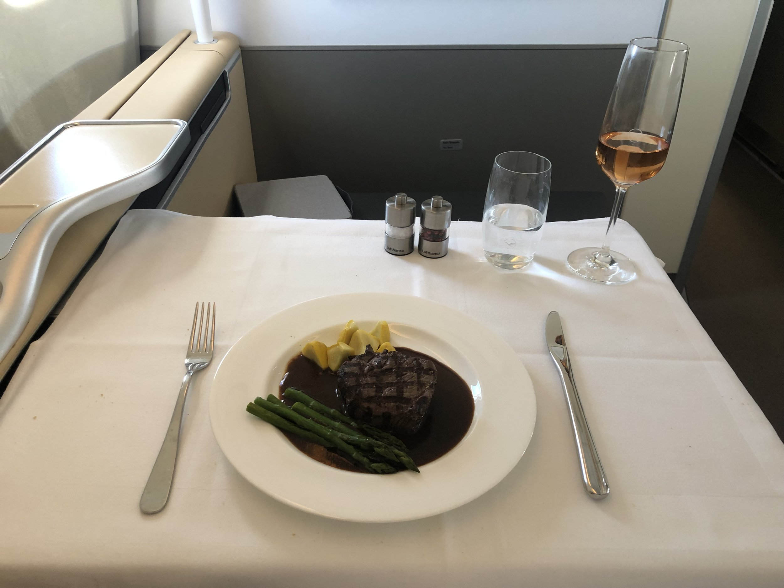 Lufthansa First Class Steak