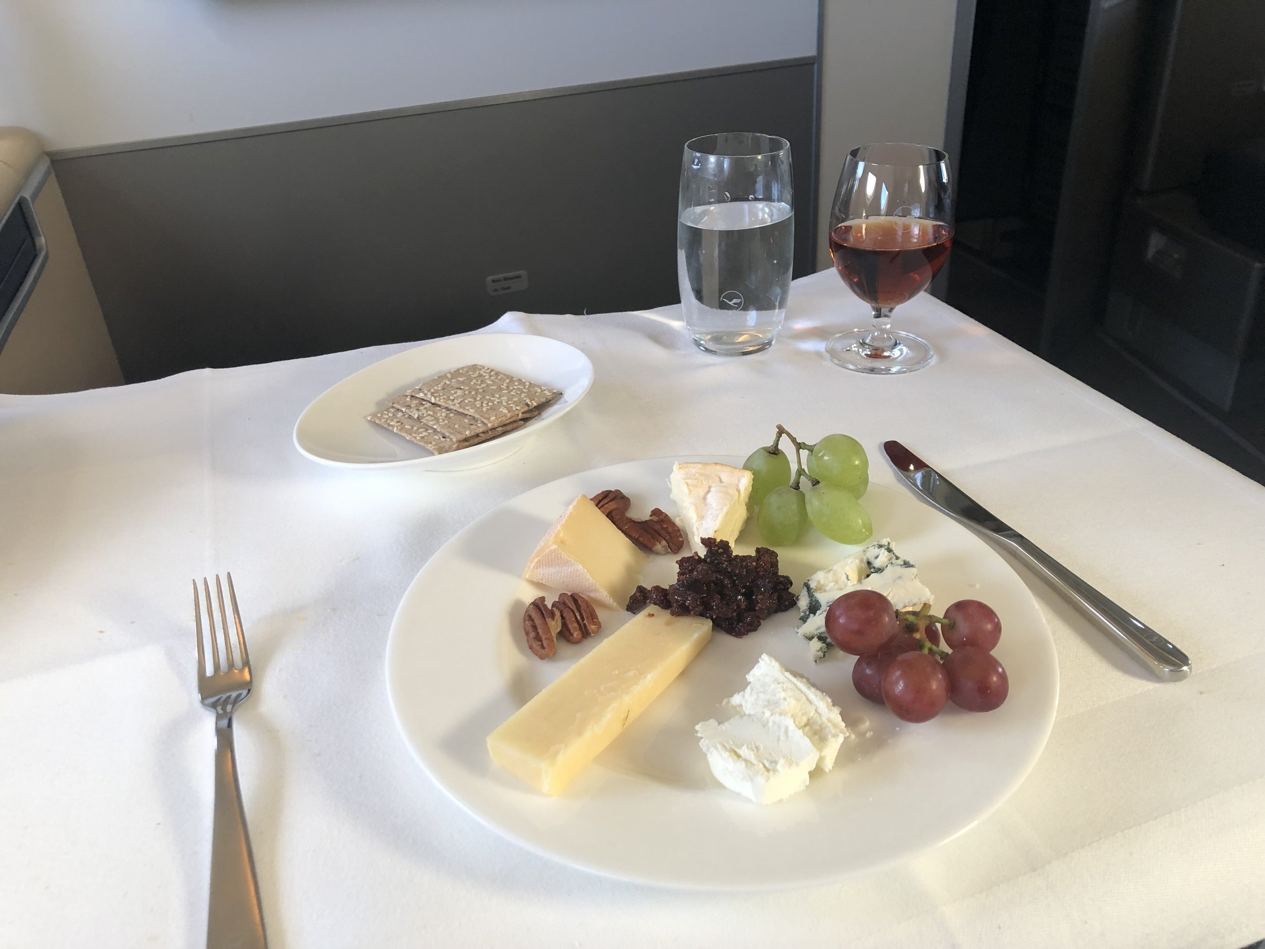 Lufthansa First Class Cheese Plate and Port