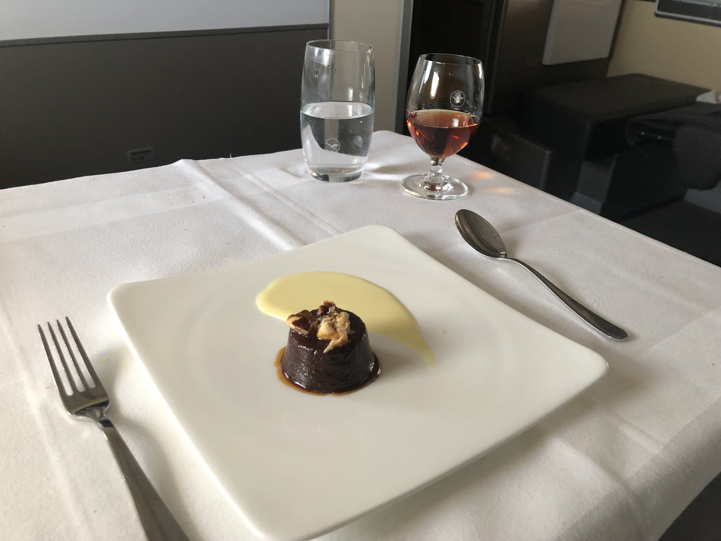 Lufthansa First Class Dessert and Port