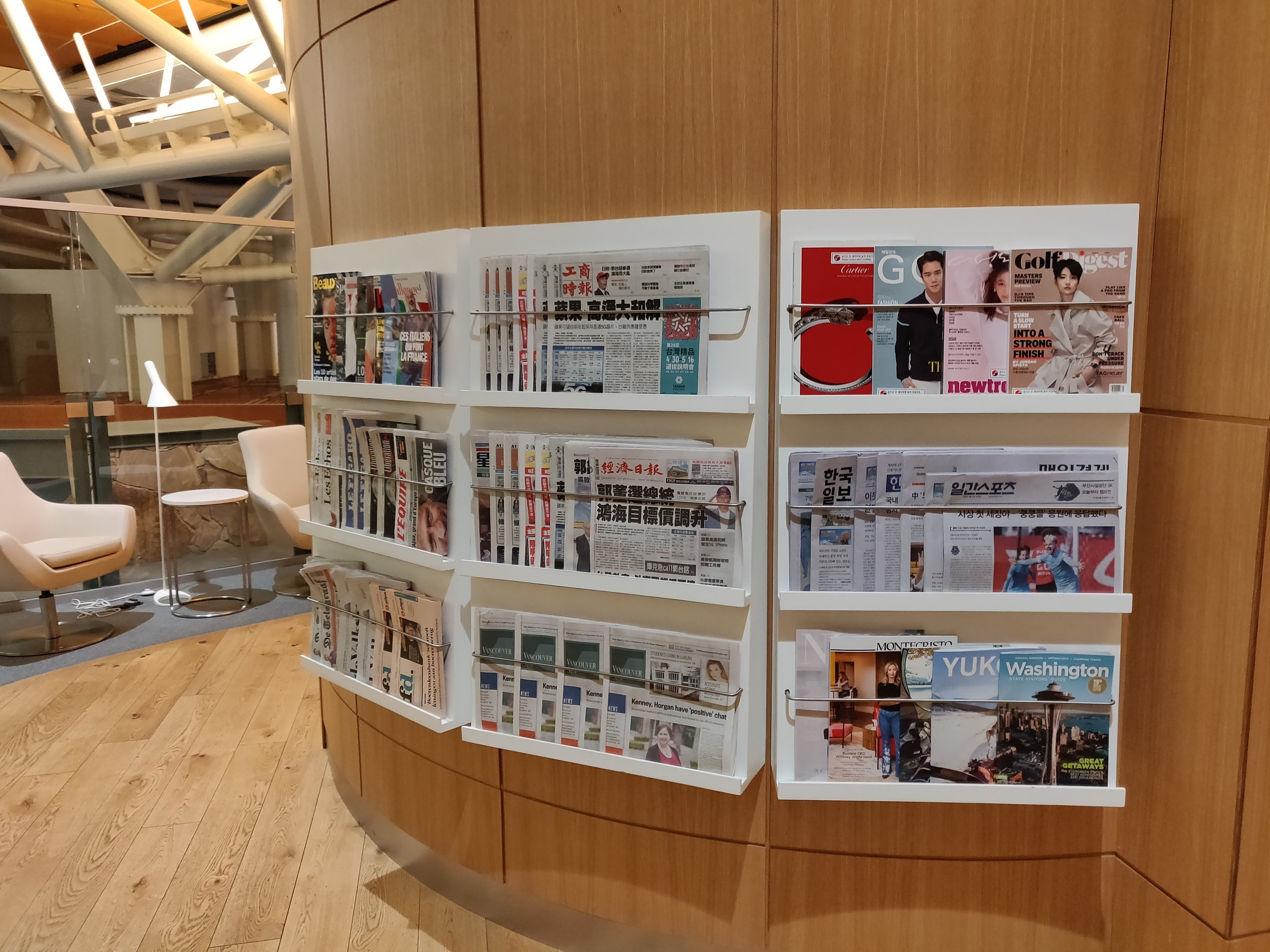 SkyTeam Lounge Vancouver - Magazine and Newspapers