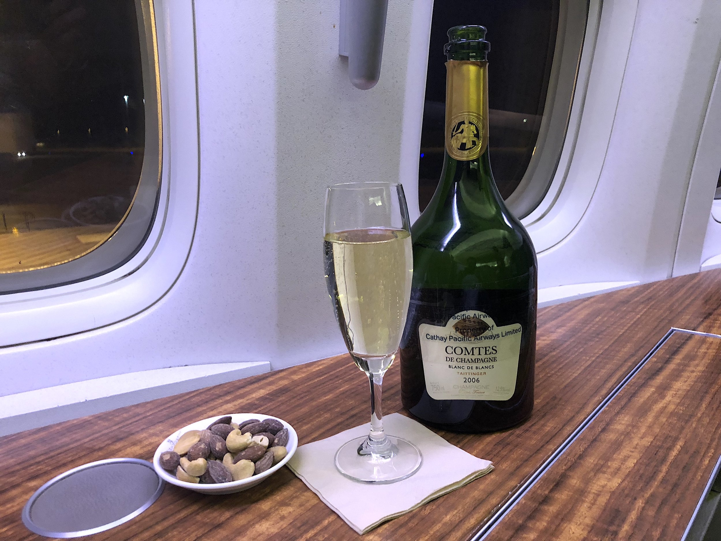 For the welcome drink- warm nuts and Comtes de Champagne