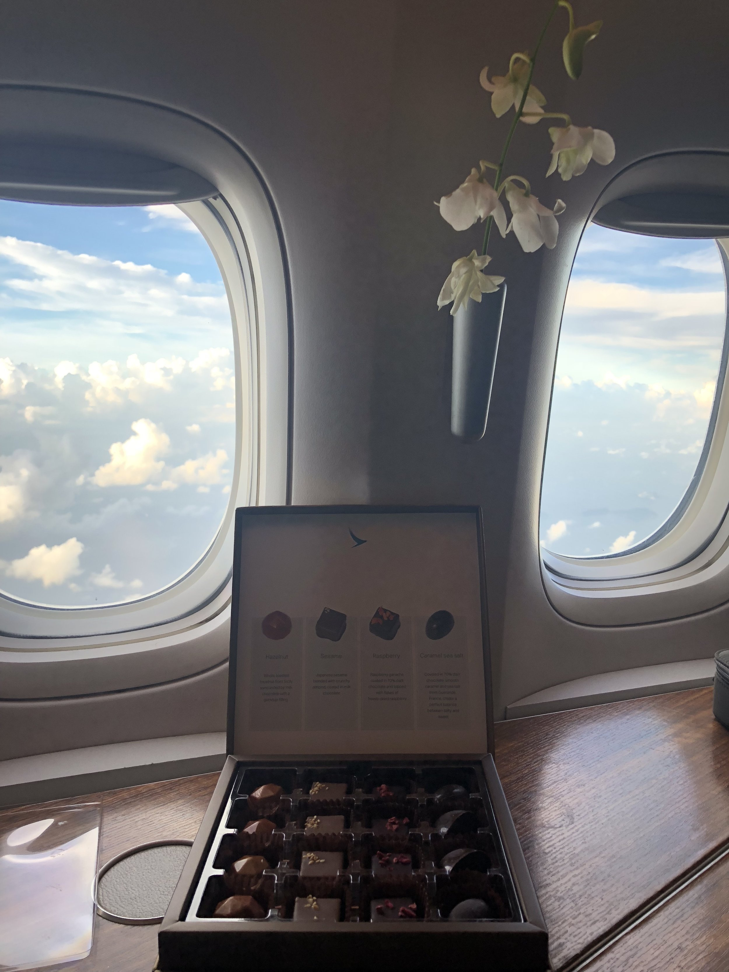 A box of chocolates from Cathay Pacific
