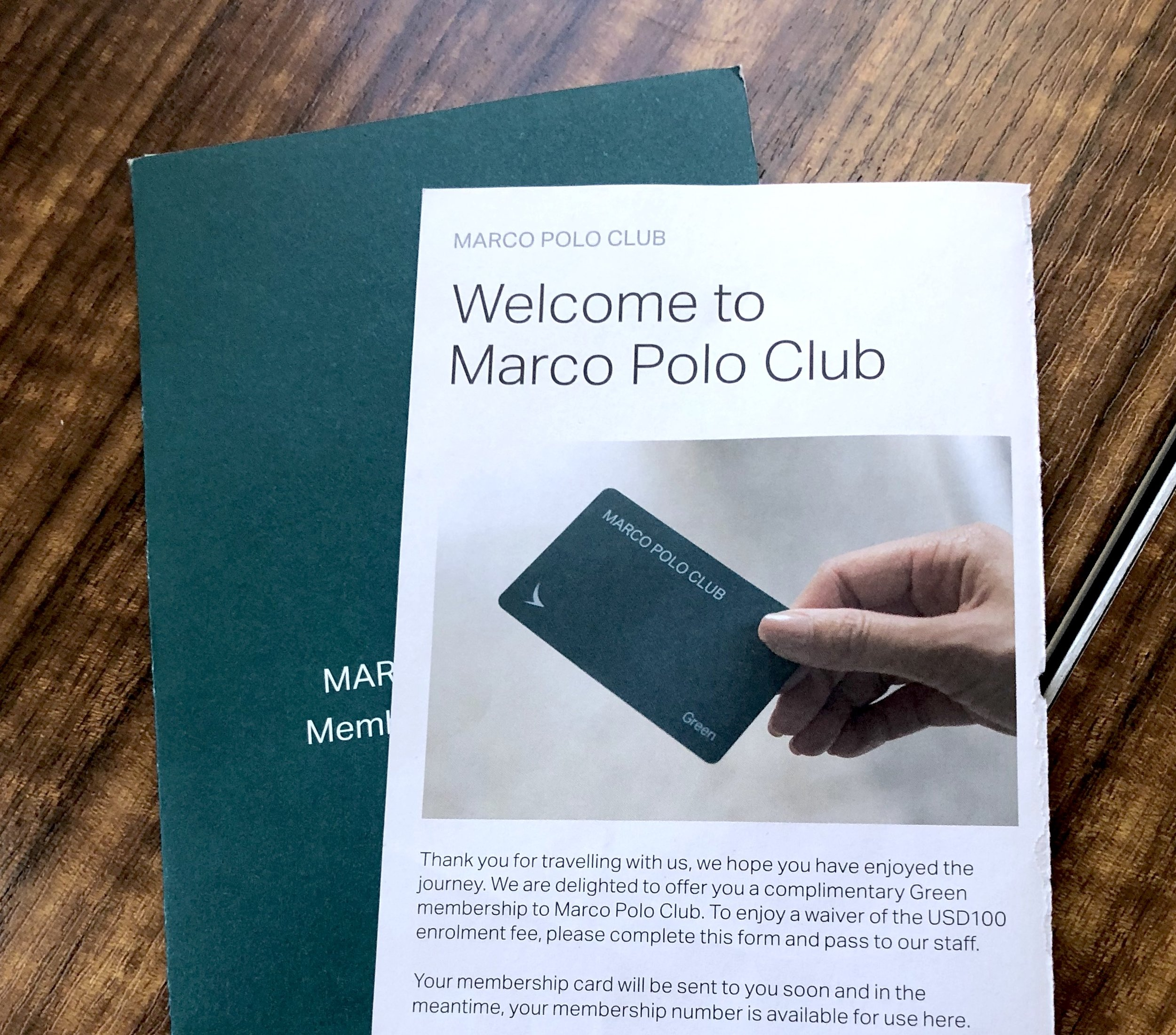 Complimentary green membership in Marco Polo Club of Cathay Pacific