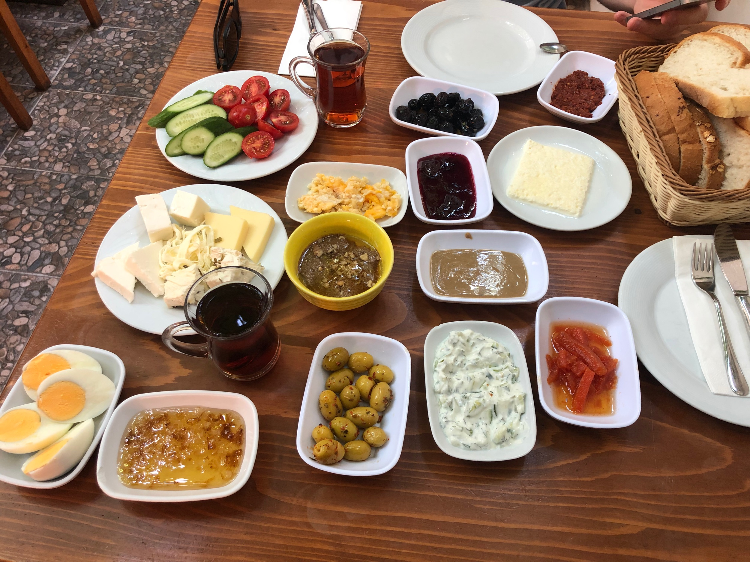 Traditional Turkish Breakfast at a Nearby Local Restaurant