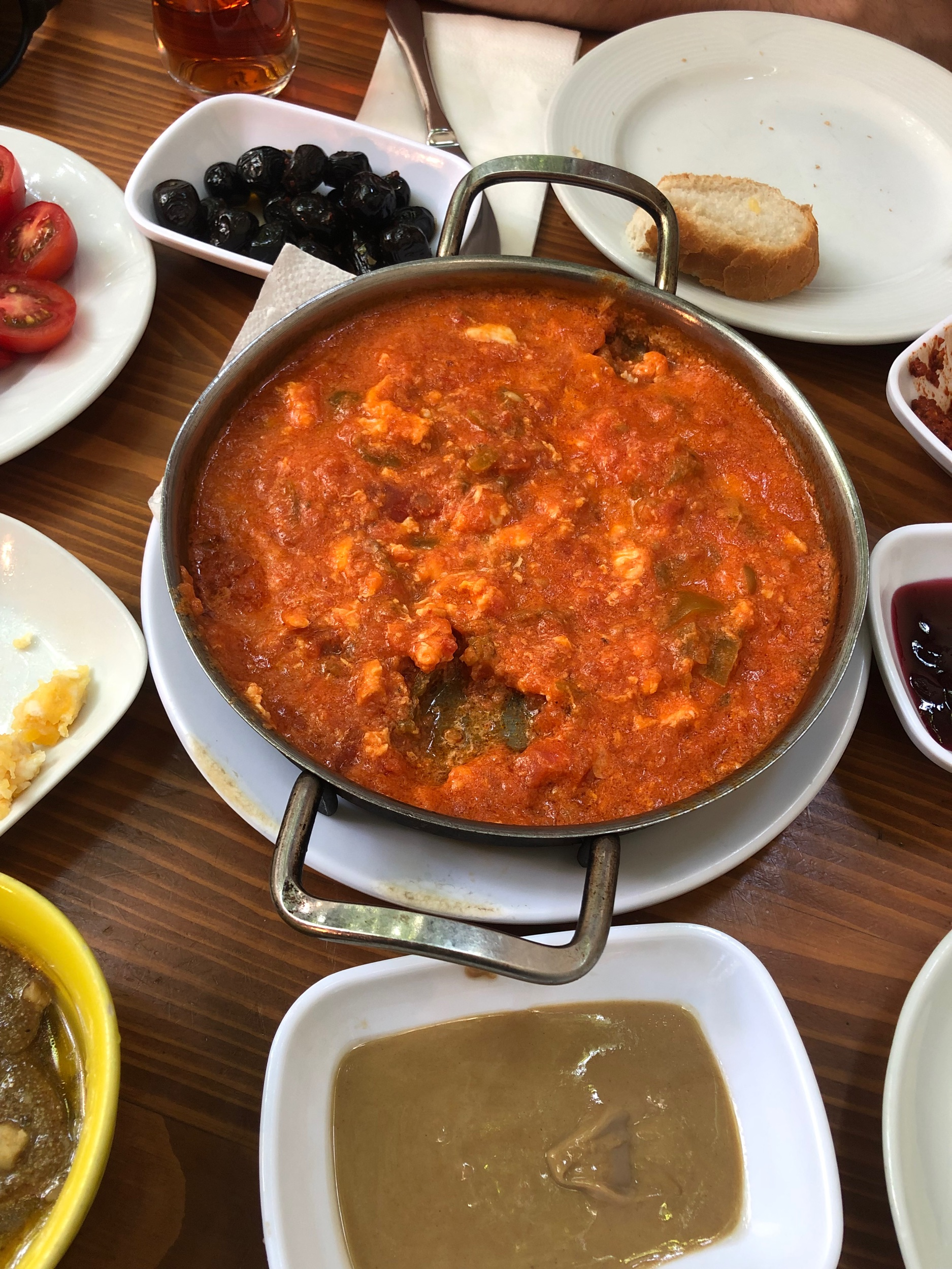 Traditional Turkish Breakfast - Tomato Scrambled Eggs with Cheese