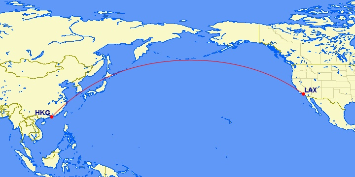 LAX-HKG Route (courtesy of gcmap.com)