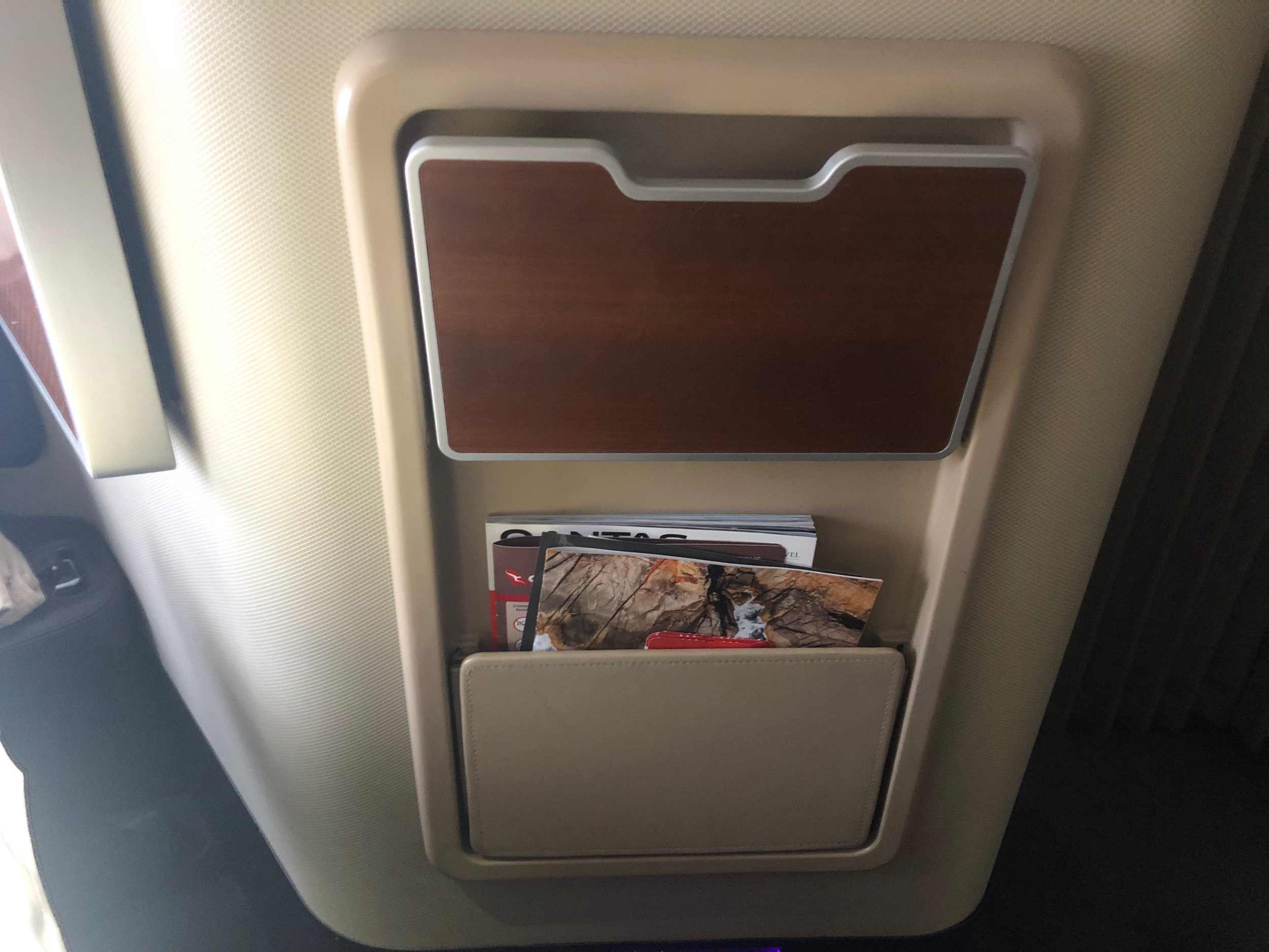 Qantas First Class - Small Table & Literature