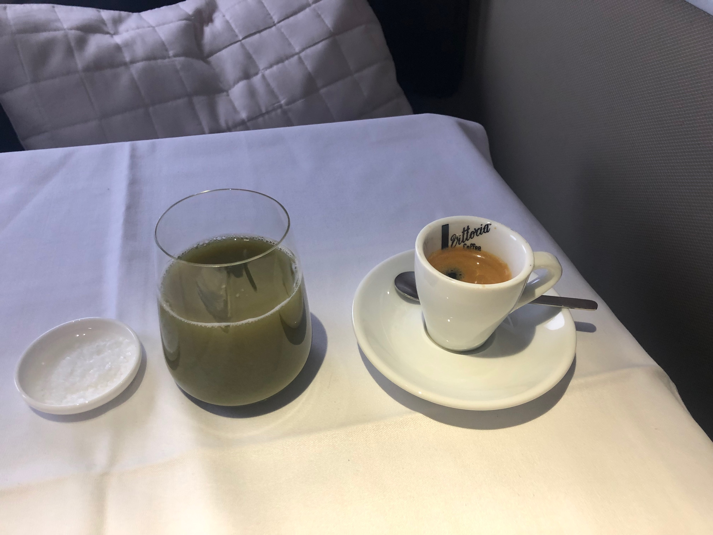 Qantas First Class Breakfast - Green Juice and Espresso