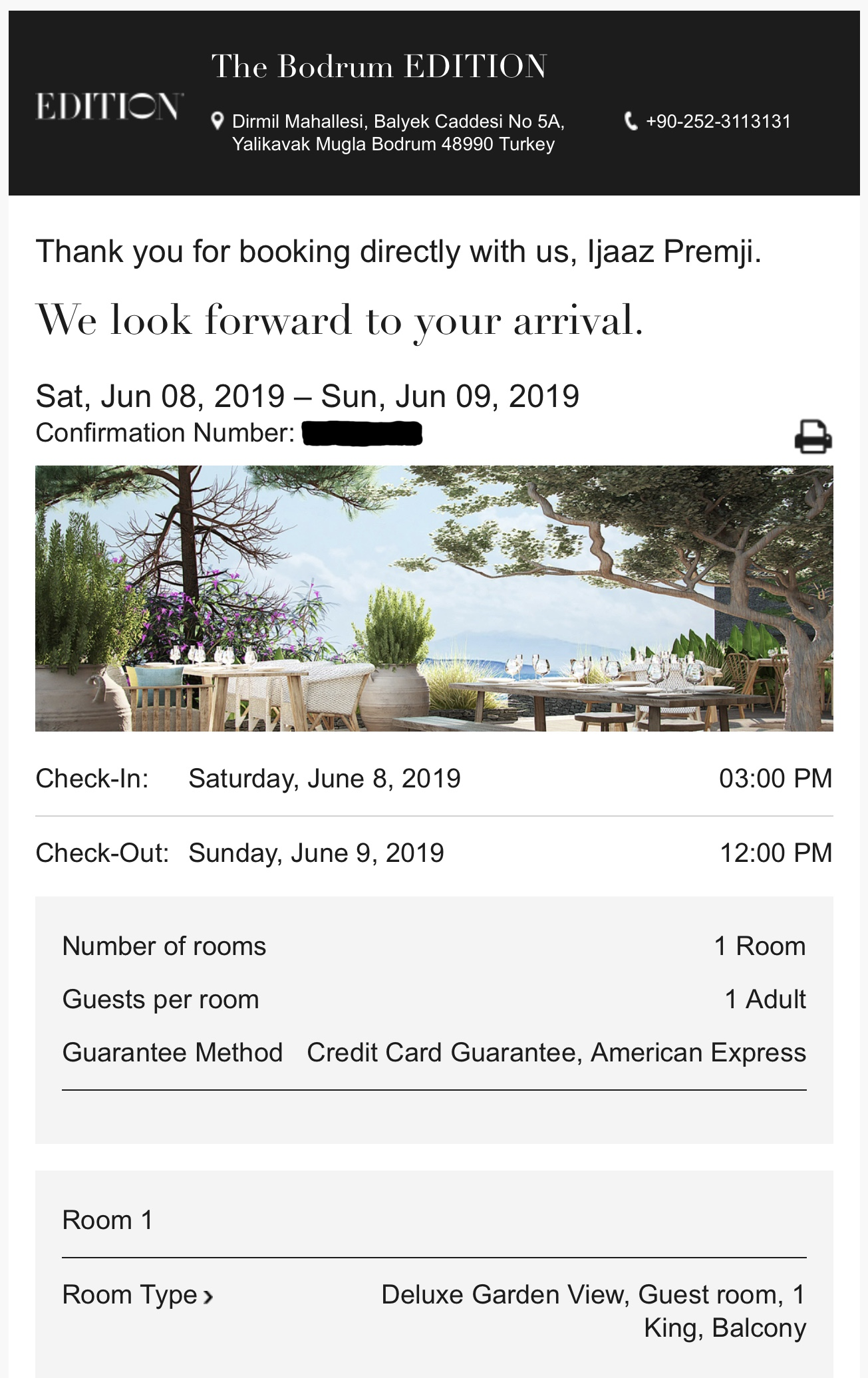 The Bodrum EDITION - Booking Confirmation
