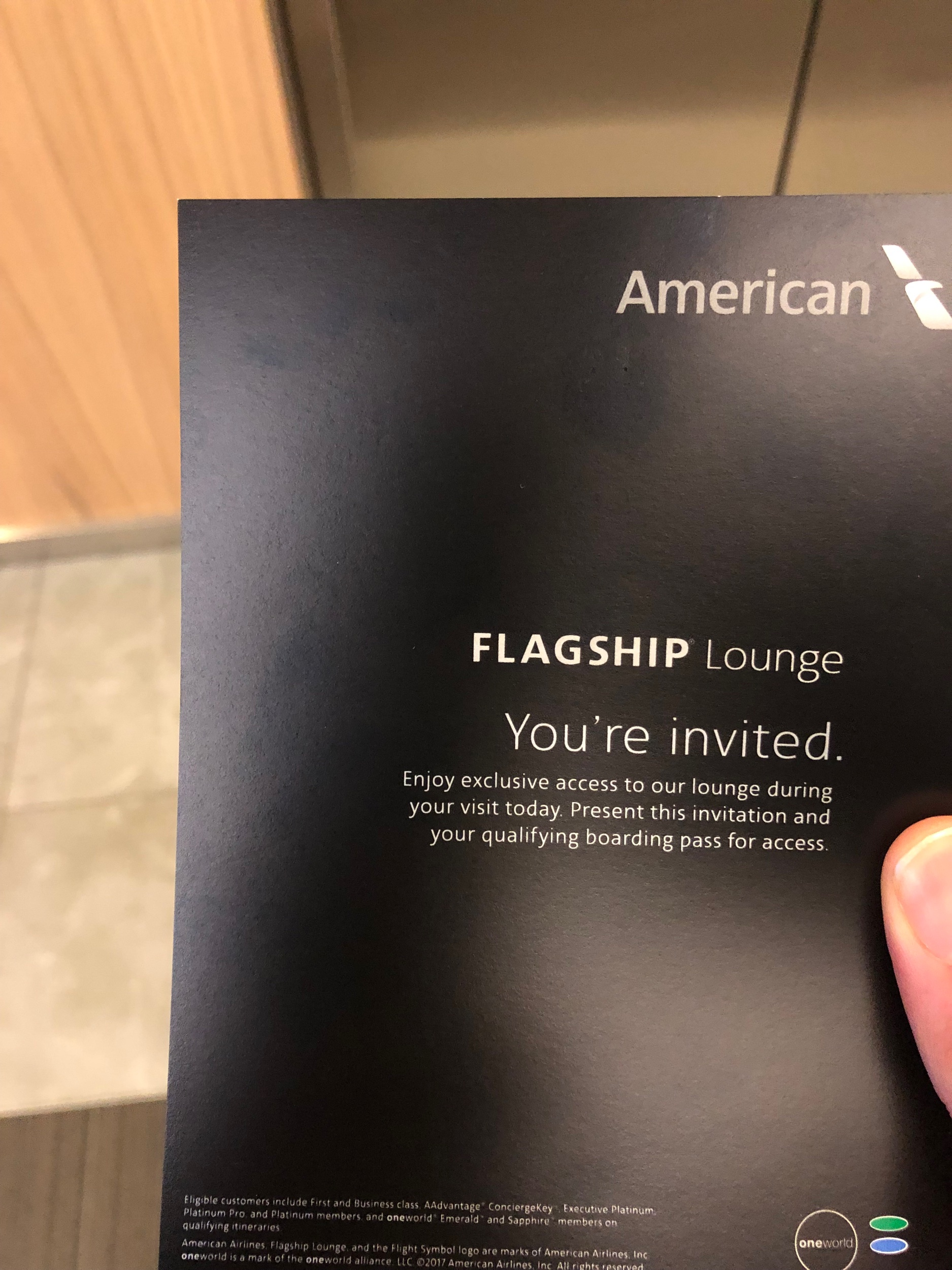 American Airlines Flagship Lounge Invitation Card
