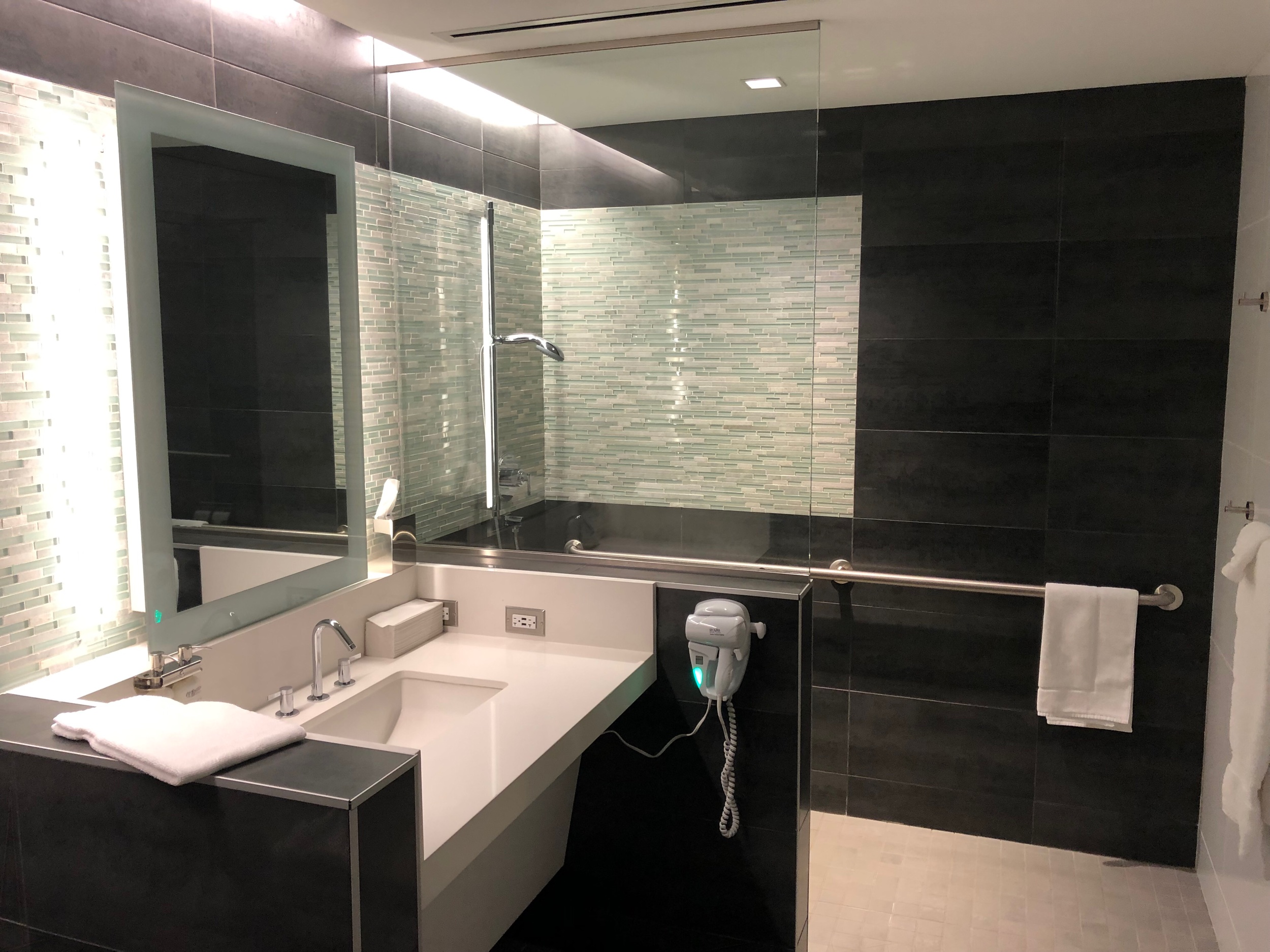 Shower room inside the American Airlines Flagship Lounge