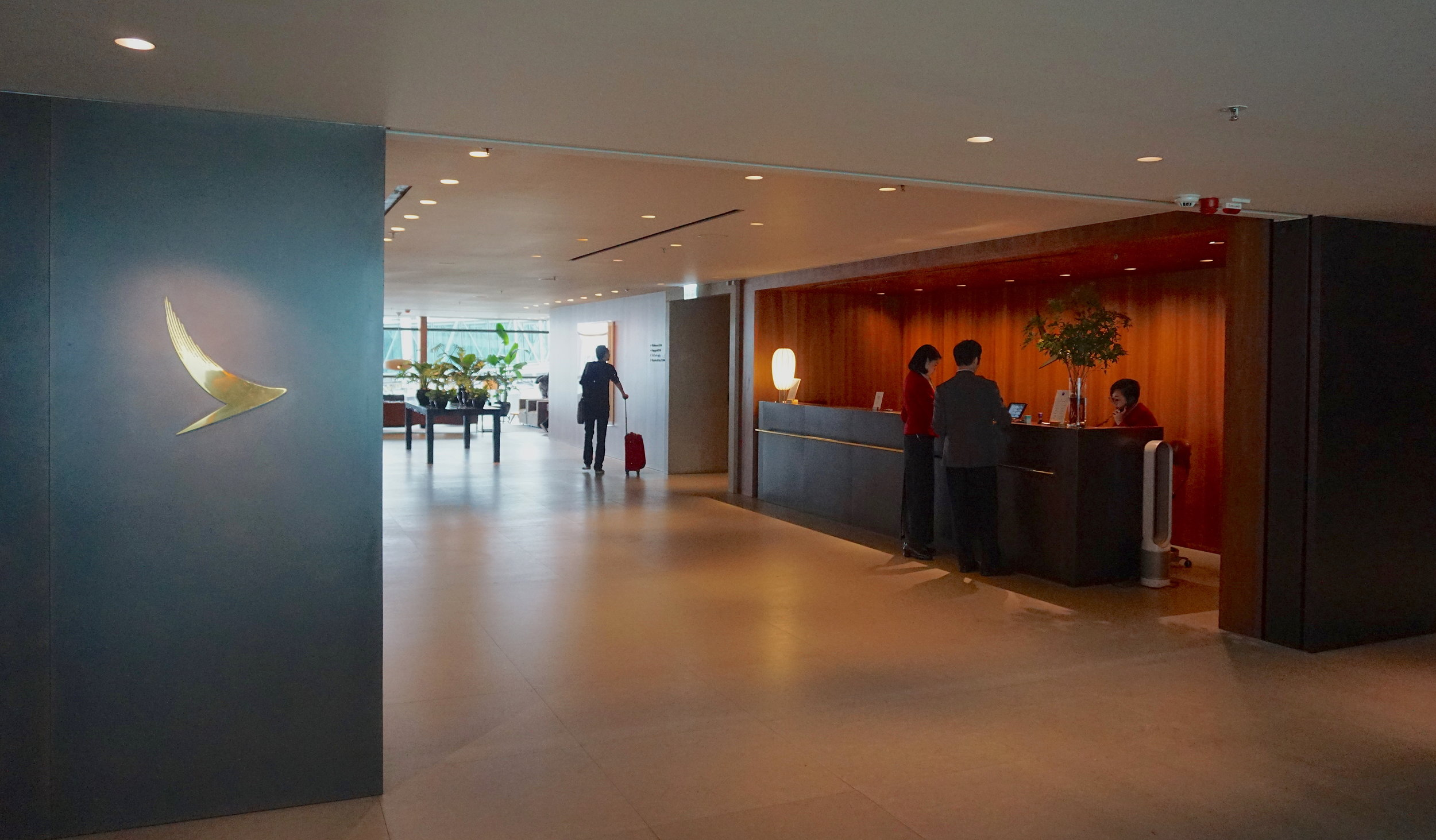 Cathay Pacific's Pier Business Class Lounge reception